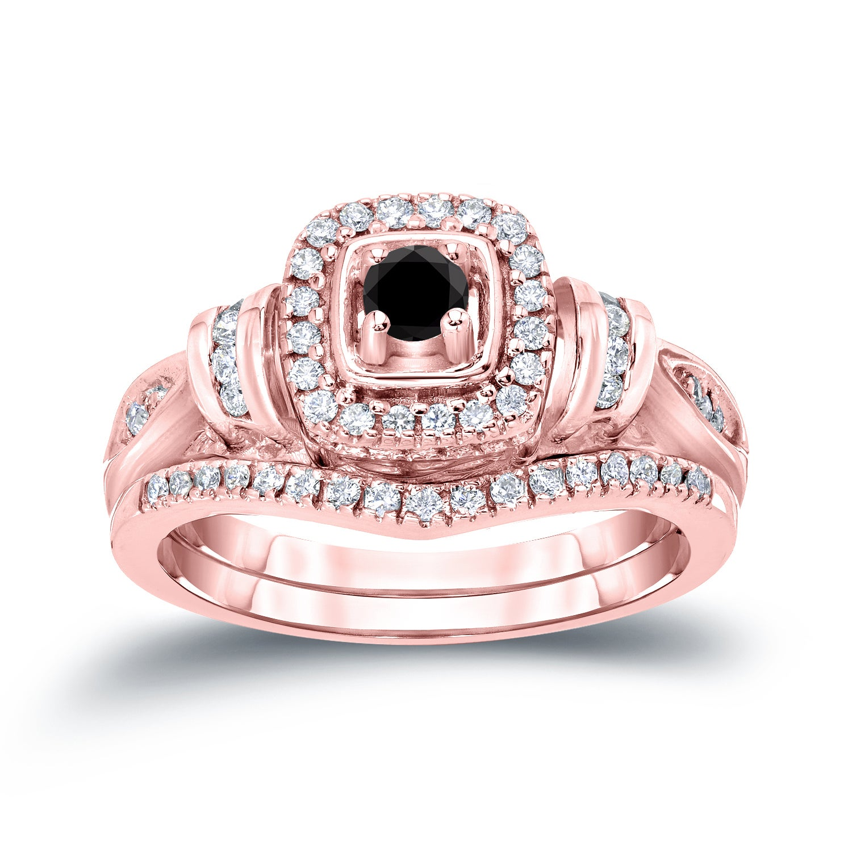 Auriya 14k 1/2ct TDW Black Diamond Halo Engagement Ring Set - Free ...