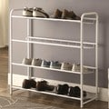 4 Shelf White Metal Shoe Storage Rack