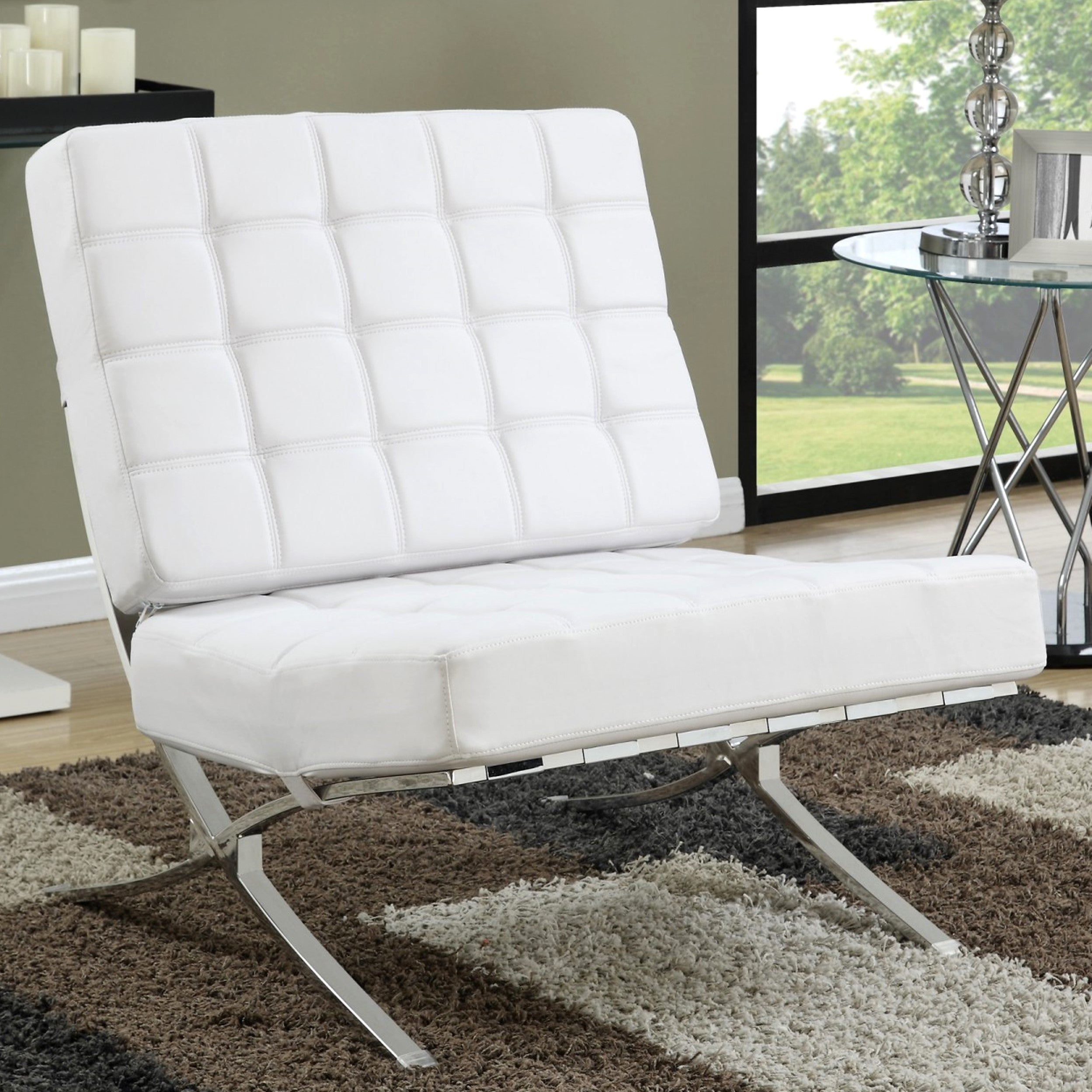 Modern Plush Waffle Design White Large Living Room Accent Chair ...