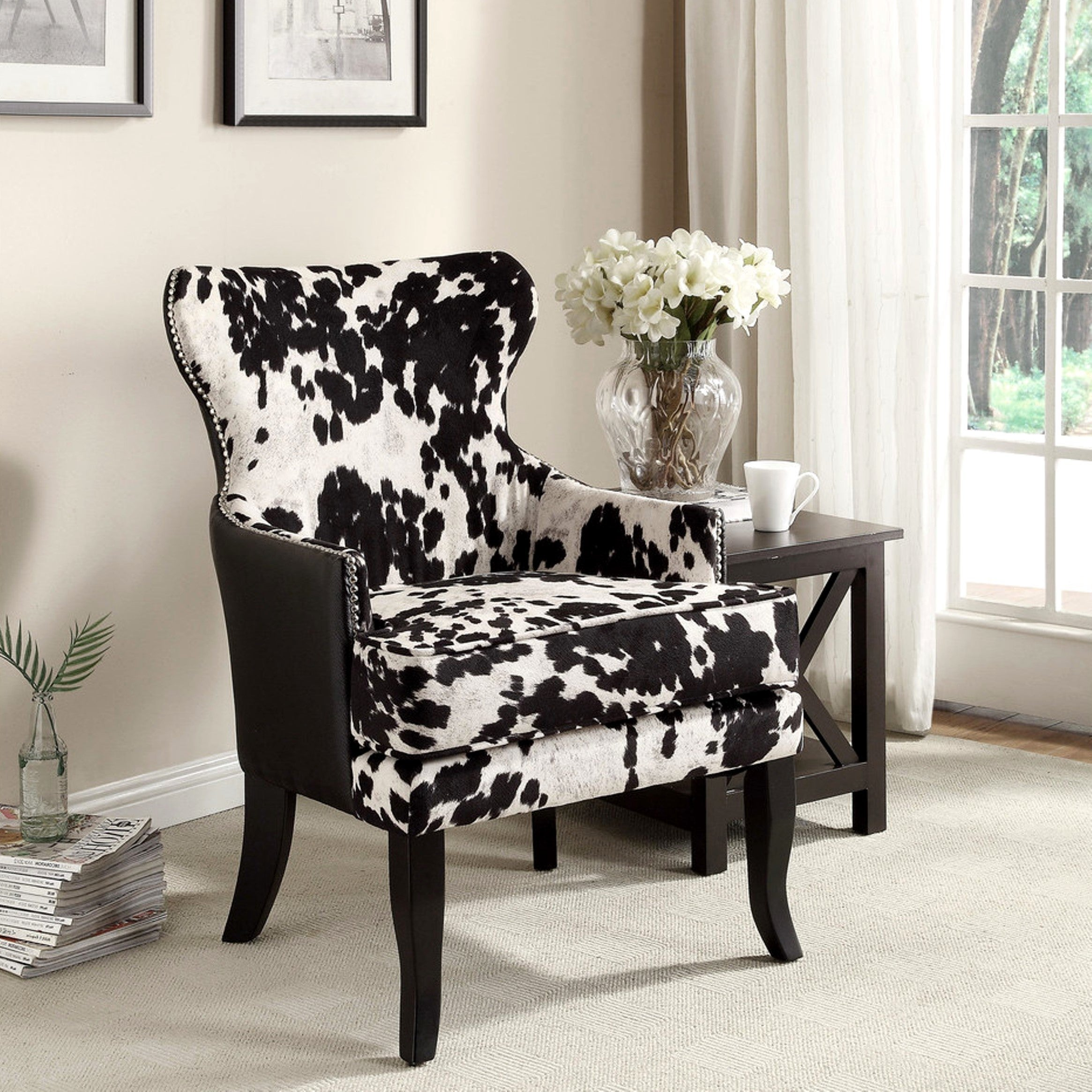 Shop Chalina Rustic Styling Cowhide Accent Chair Free Shipping