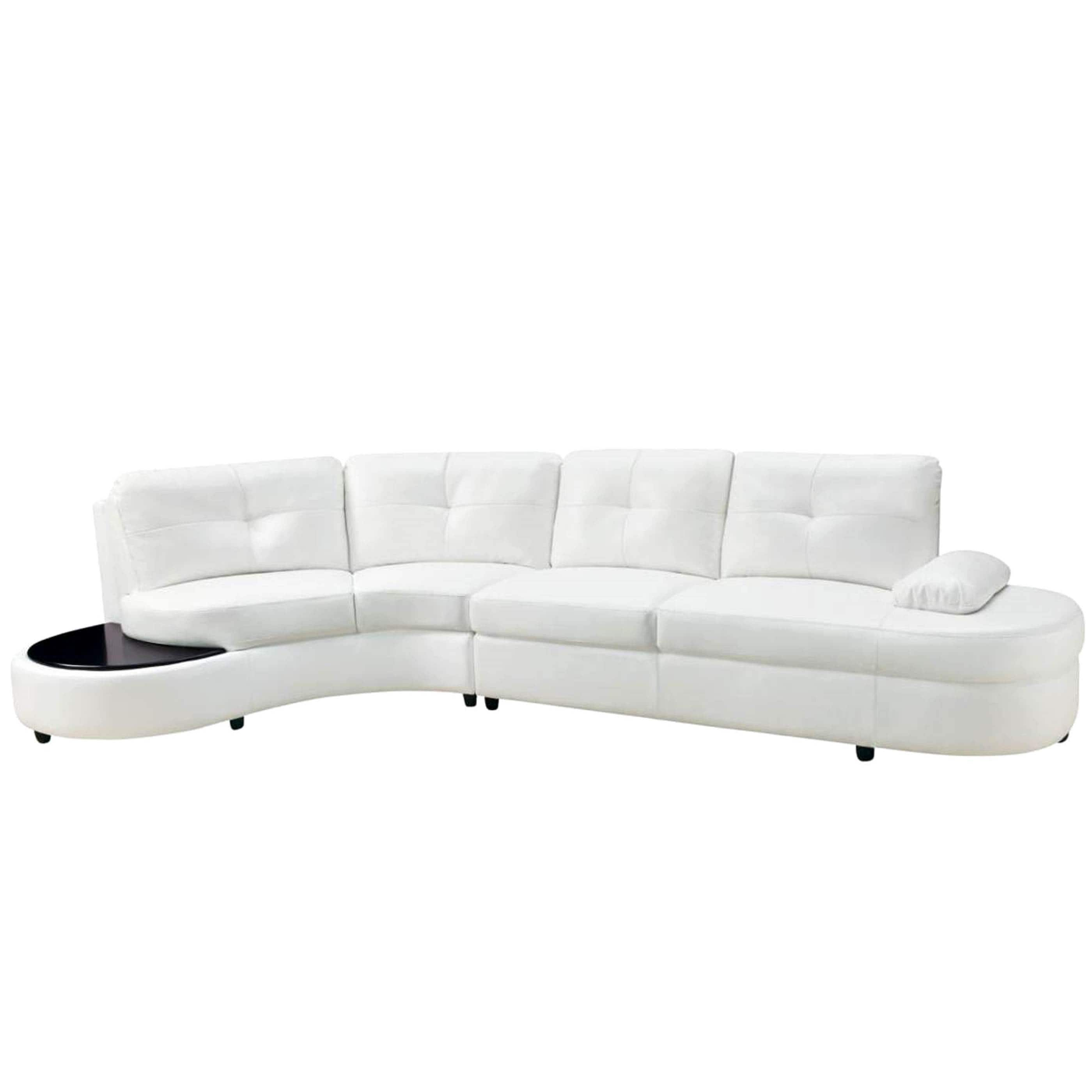 Modern Style Curved Sectional Sofa with Builtin Wooden Top Ottoman