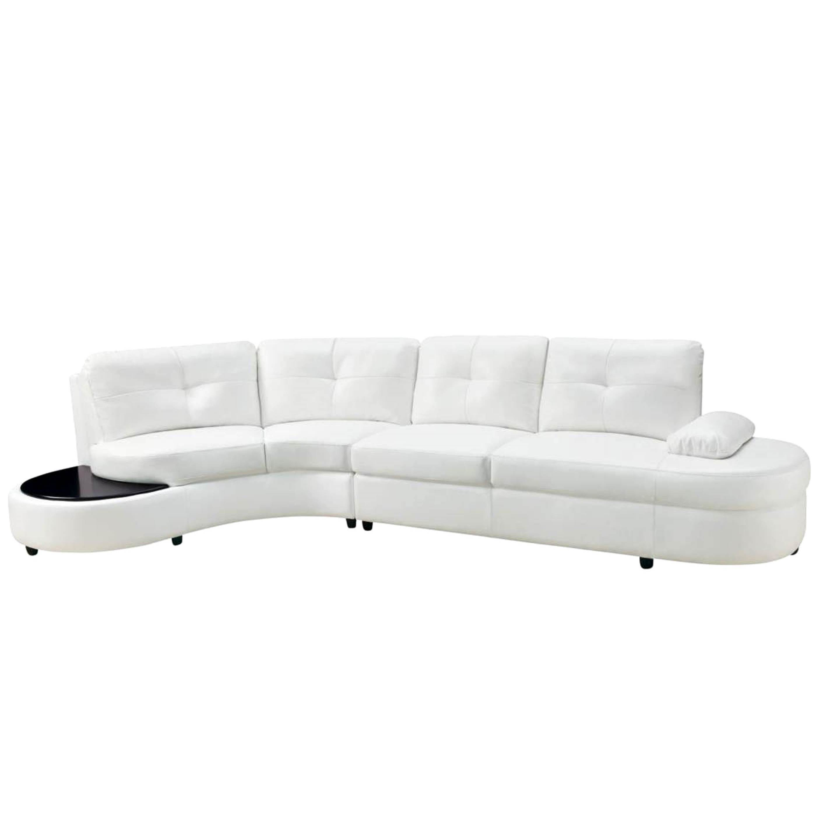 Shop Modern Style Curved Sectional Sofa With Built In Wooden Top Ottoman    Free Shipping Today   Overstock.com   16286090