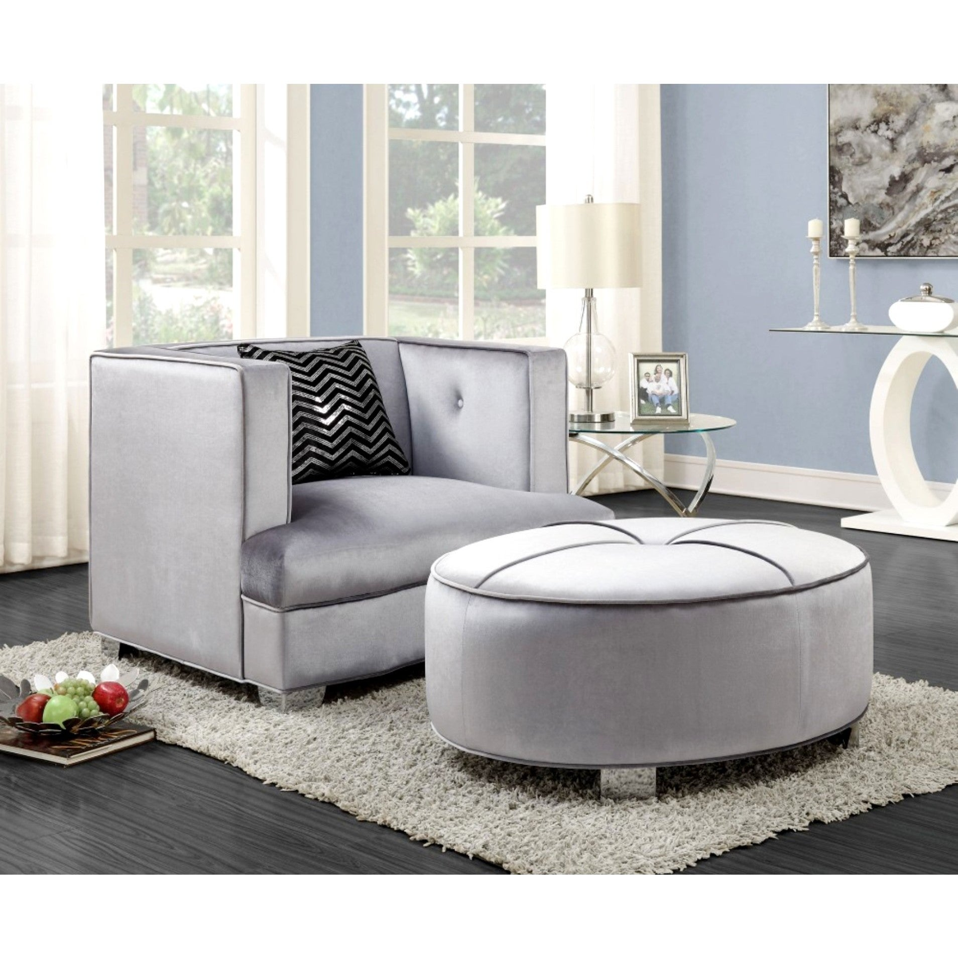 Modern Design Traditional Influenced Silver Velvet Living Room Sofa  Collection   Free Shipping Today   Overstock.com   22652360