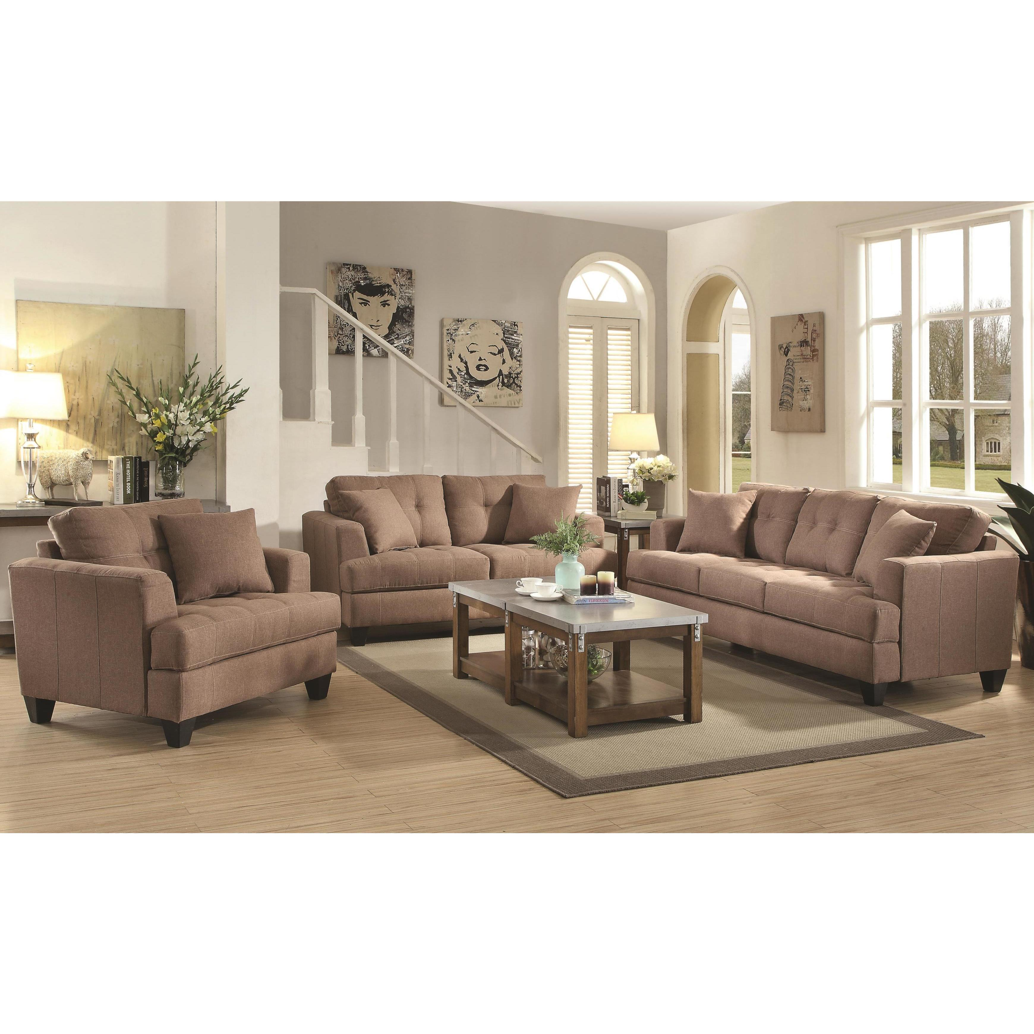 Frankfurt Modern Tufted Design Mocha Living Room Sofa Collection