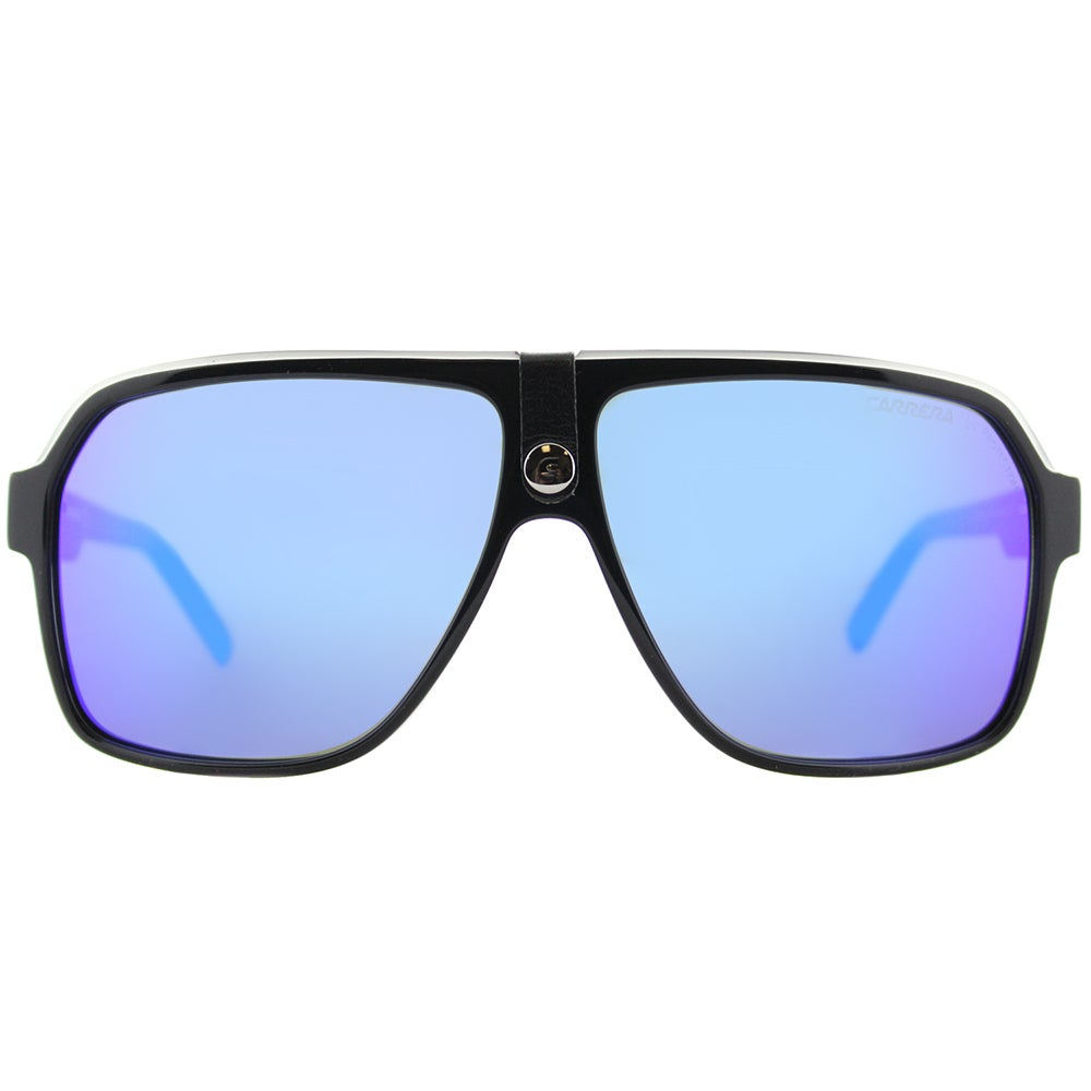 2bb143caa9ce Shop Carrera Carrera 33/S 8V6 Z0 Black Crystal Grey Plastic Aviator  Sunglasses Blue Mirror Lens - Free Shipping Today - Overstock - 16286500