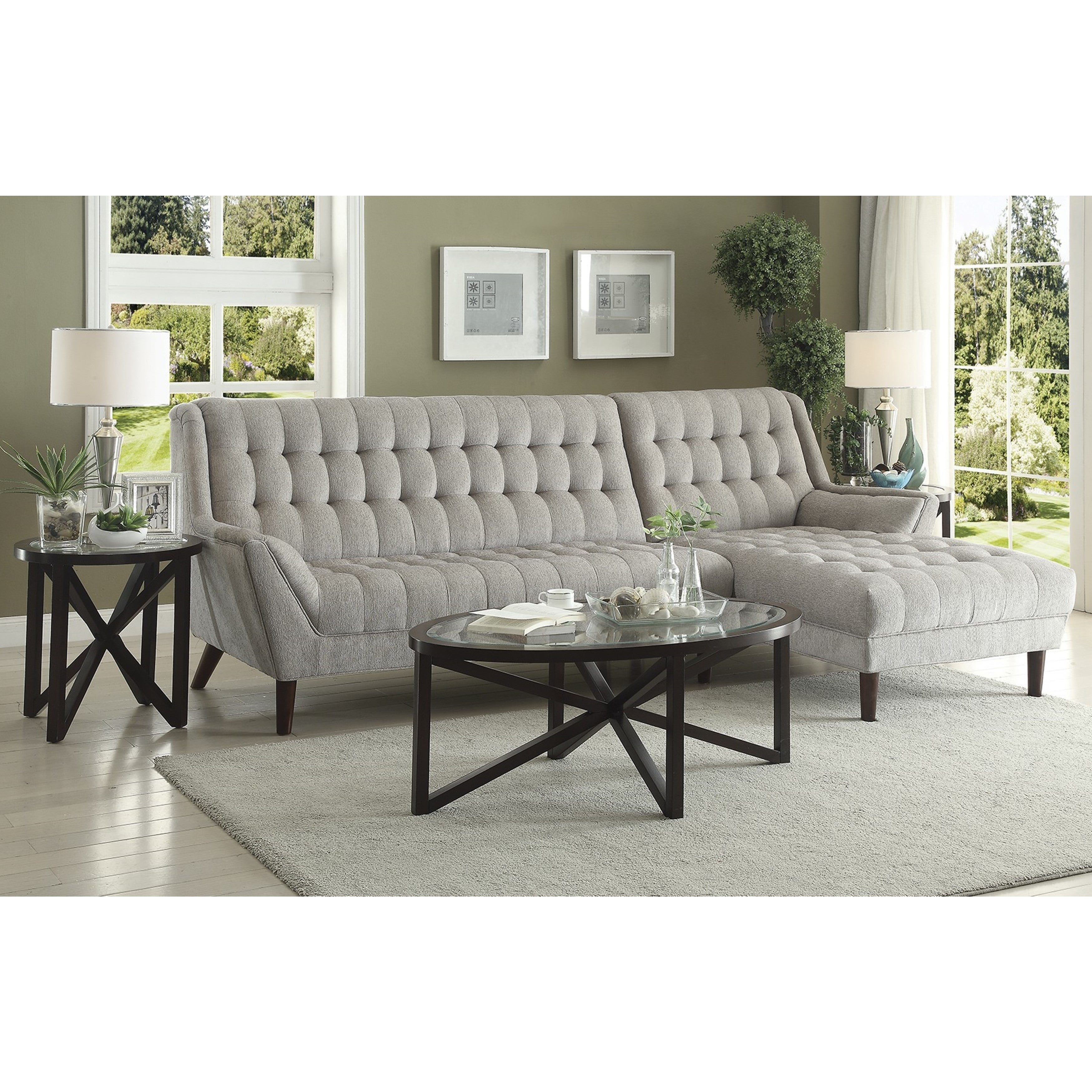 Retro Mid Century Modern Style Grey Living Room Sectional Sofa