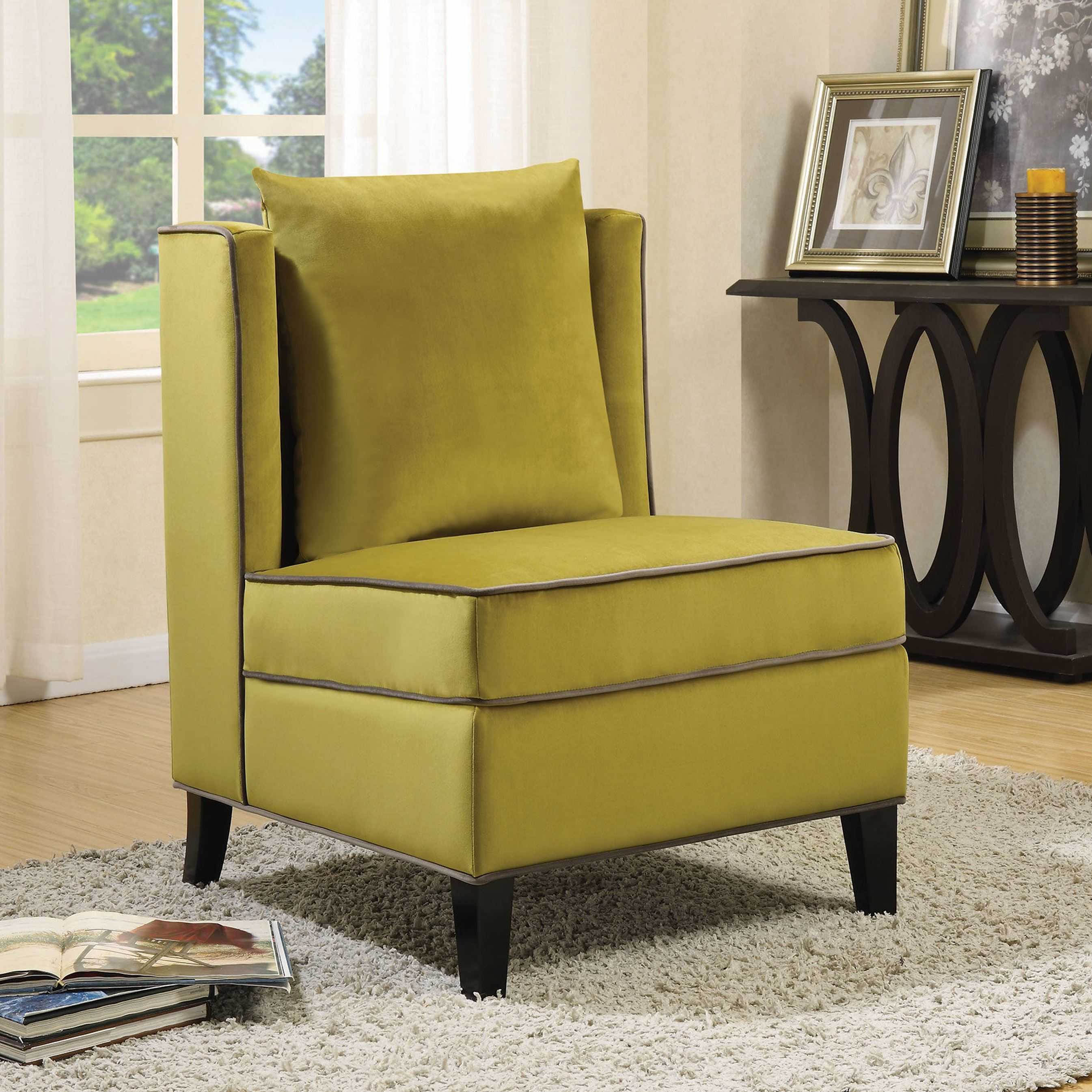 Shop Living Room Yellow Velvet Accent Chair With Grey Piping   Free  Shipping Today   Overstock.com   16287359