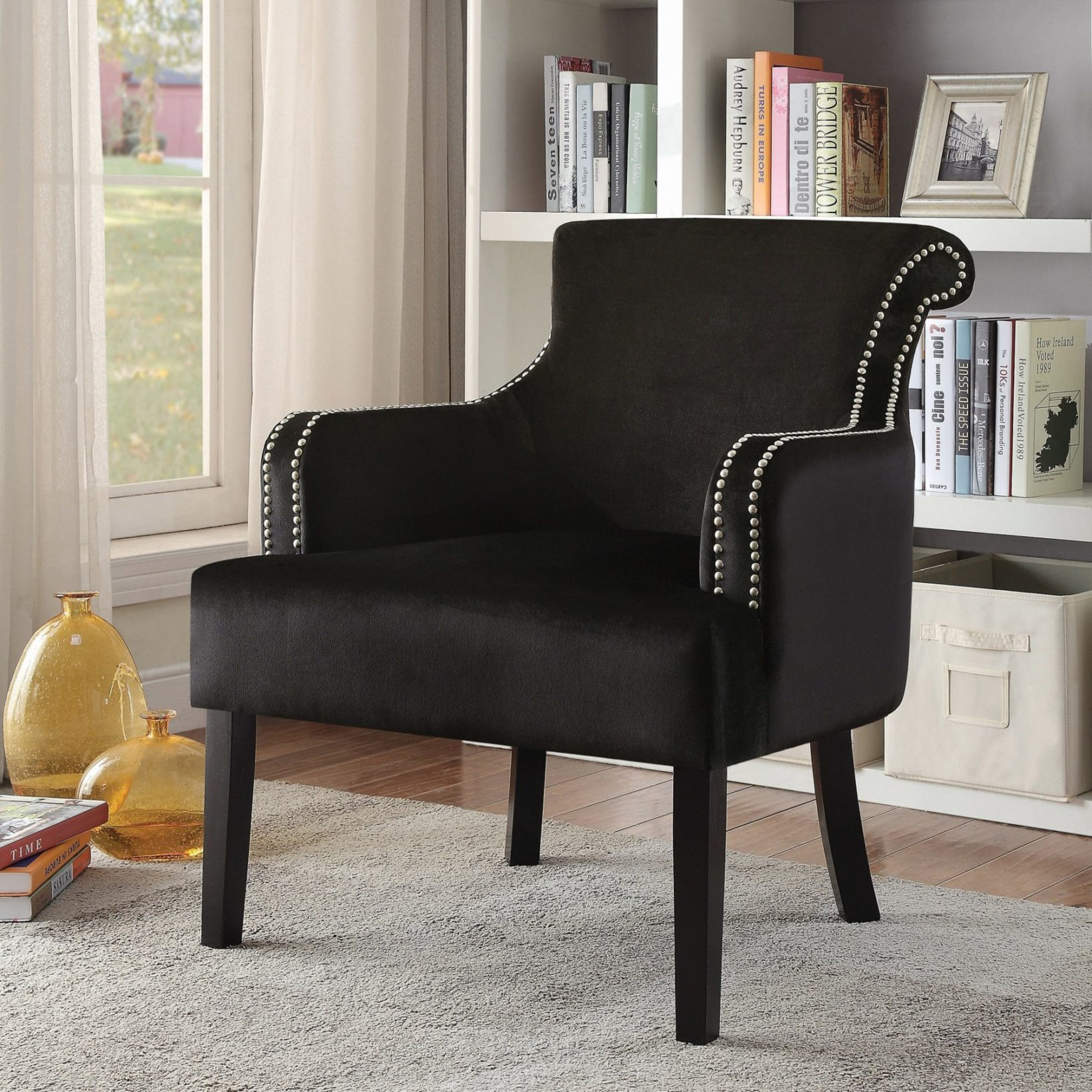 Shop Living Room Black Velvet Accent Chair With Nailhead Trim Free
