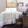 Wild Rose Enchantment Patchwork 3-piece Twin Size Quilt Set (As Is Item)