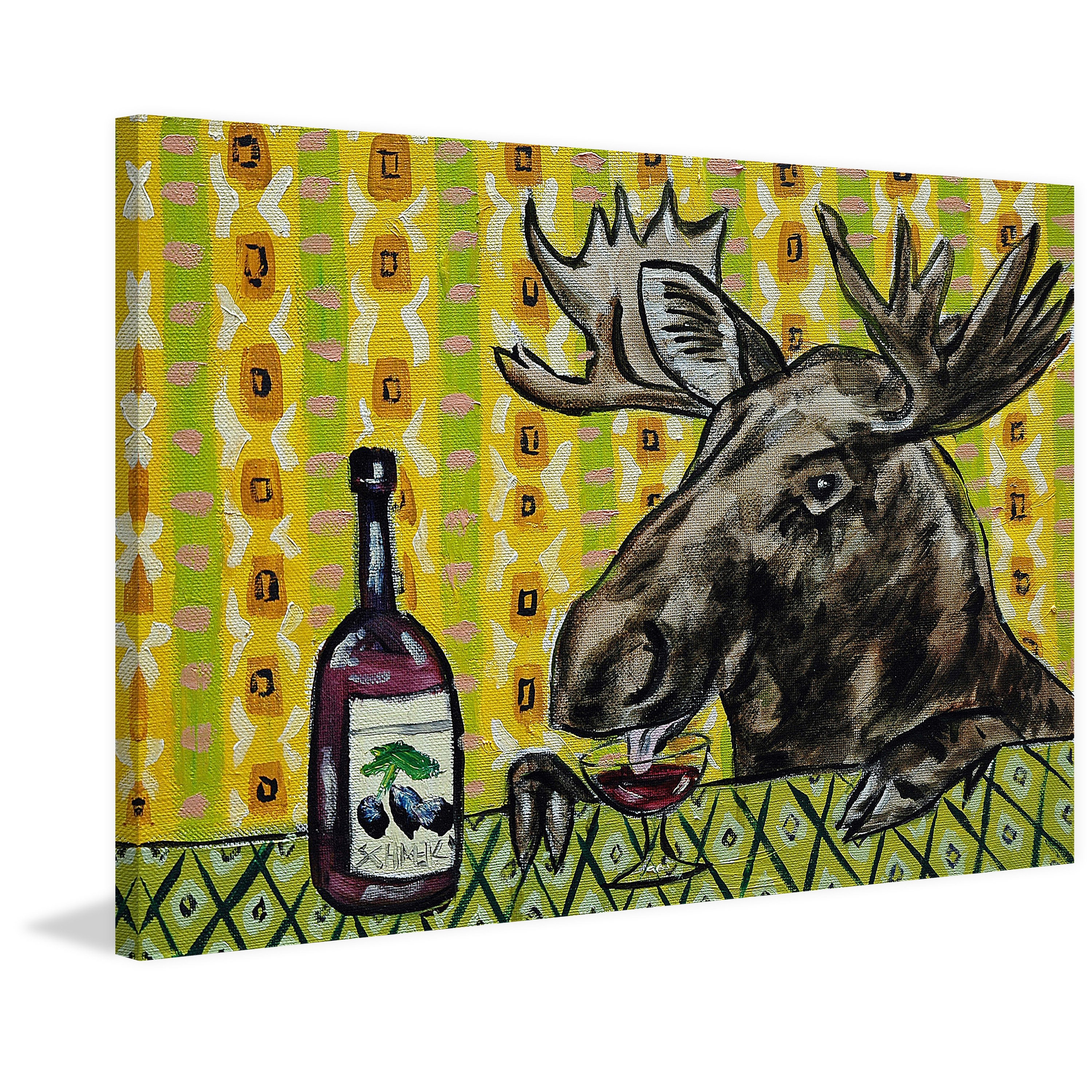 Shop \'Moose Wine\' Painting Print on Wrapped Canvas - Yellow - On ...