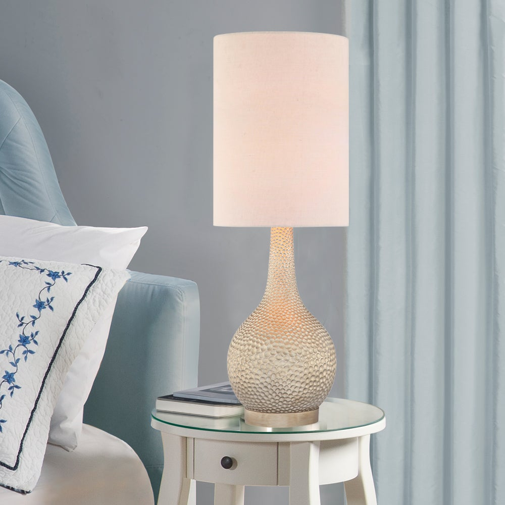 Shop Catalina Ava 31 Champagne Silver Hammered Table Lamp Free
