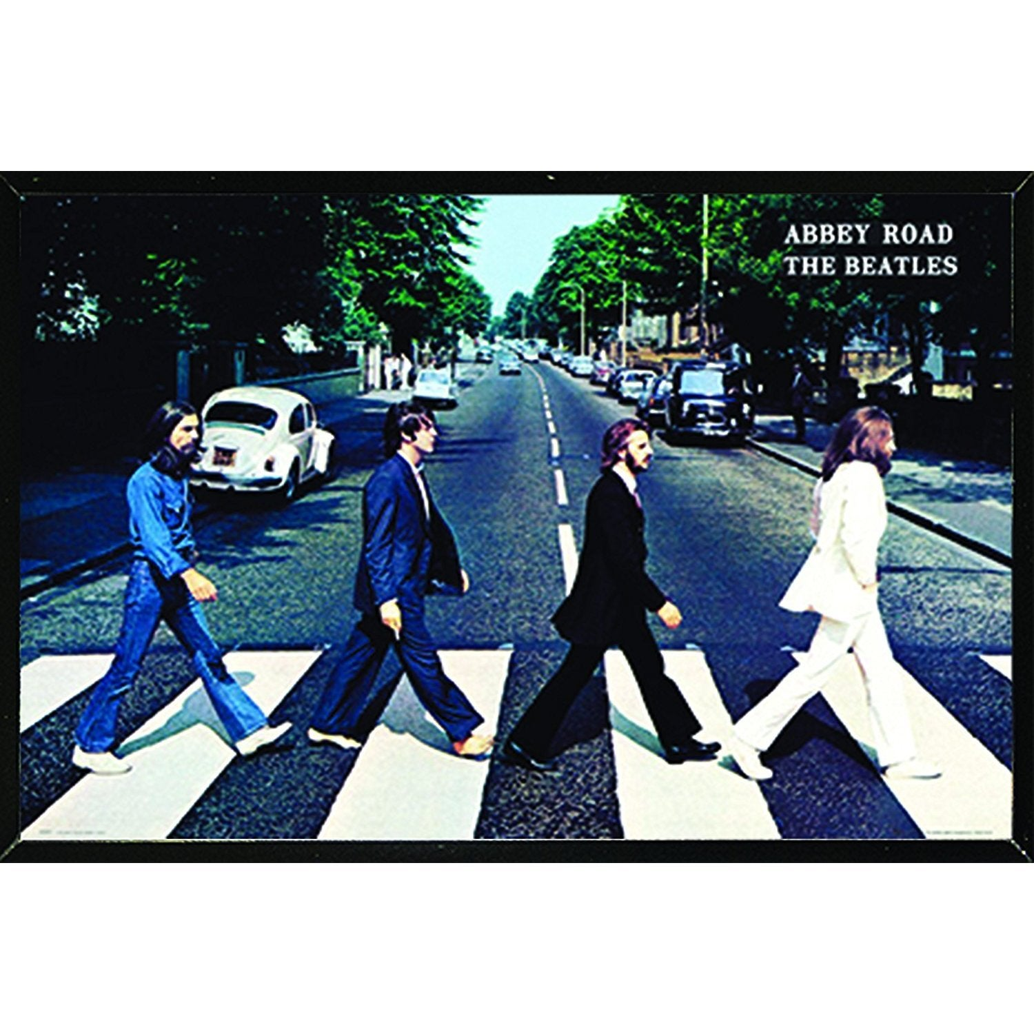 Shop The Beatles Abbey Road Poster On A Black Plaque 36x24