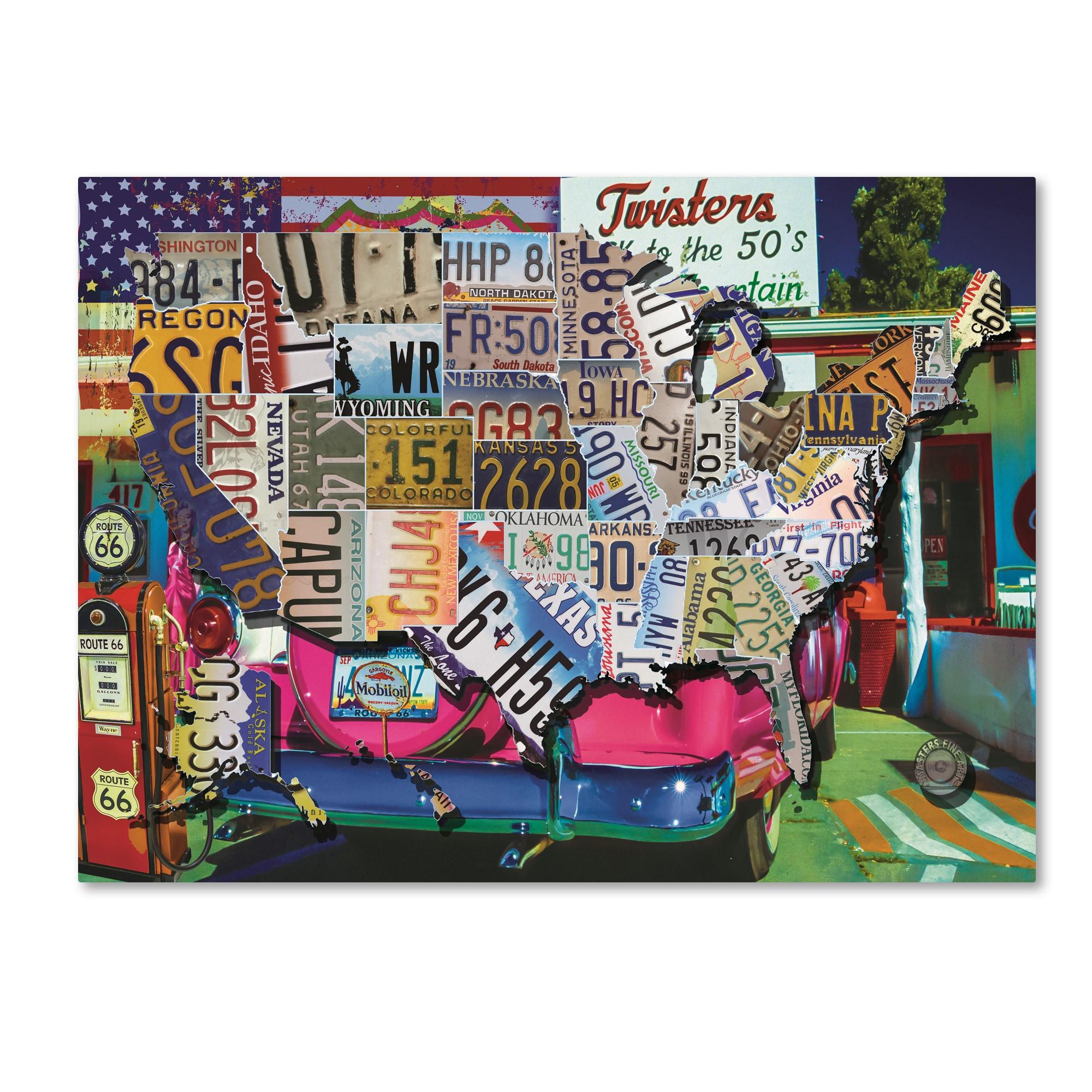 Shop Masters Fine Art \'USA License Plate Map Route 66\' Canvas Art ...