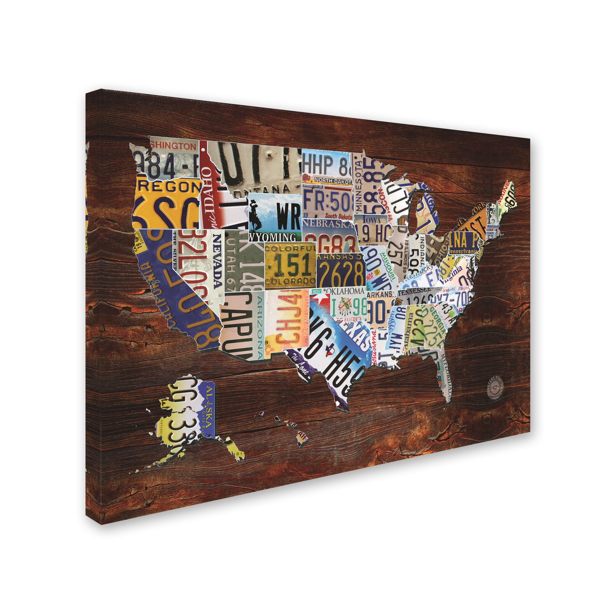 Masters Fine Art 'USA License Plate Map on Wood' Canvas Art on license plate world map, map usa map, color usa map, leapfrog interactive united states map, flag usa map, basketball usa map, baseball usa map, paint usa map, golf usa map, motorcycle usa map, driving usa map, decals usa map, watercolor usa map, art usa map, reverse usa map, list 50 states and capitals map, state usa map, time usa map, license plate map art, license plates for each state,