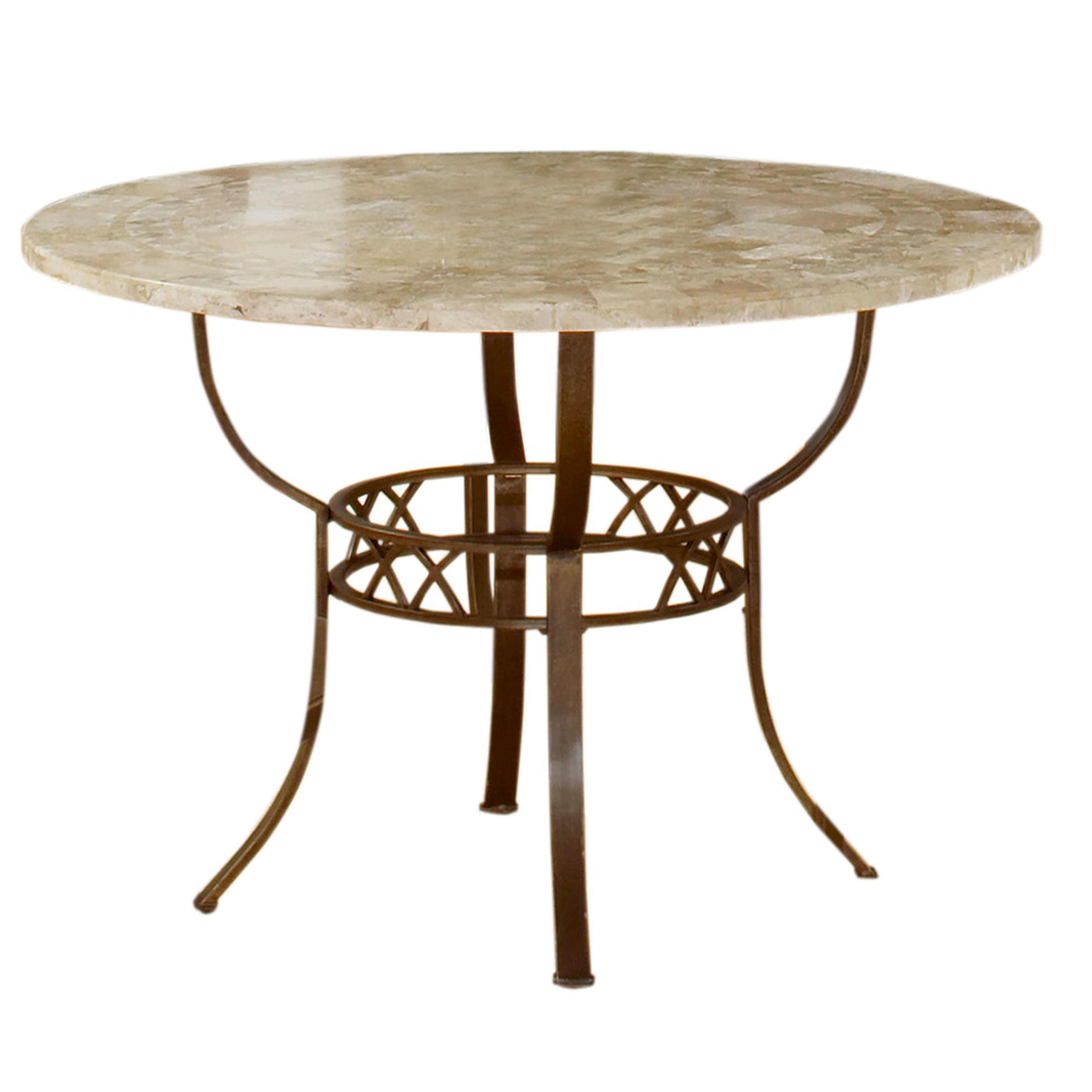 Shop hillsdale furniture brookside ivory and brown powder coated round table free shipping today overstock com 16294973