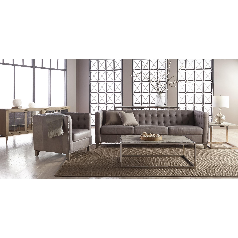 Rivermede Grey Leather Tufted Nailhead Sofa Free Shipping Today  ~ Grey Leather Tufted Sofa