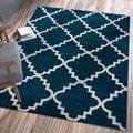 Ellie Modern Bold Trellis Diamond Pattern Navy Area Rug (7'10 x 10'6)