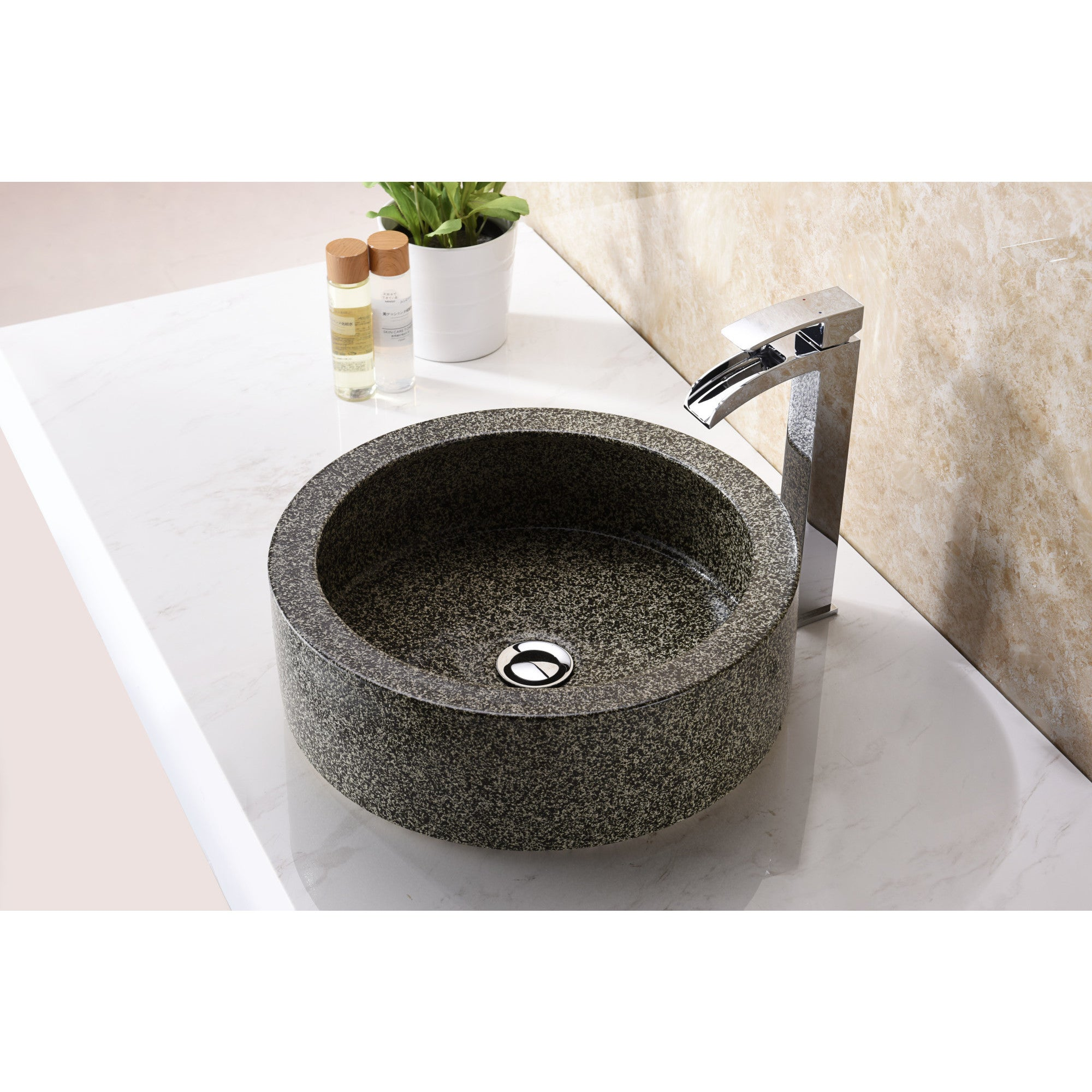 ANZZI Black Desert Crown Vessel Sink In Speckled Stone   Free Shipping  Today   Overstock.com   22668384