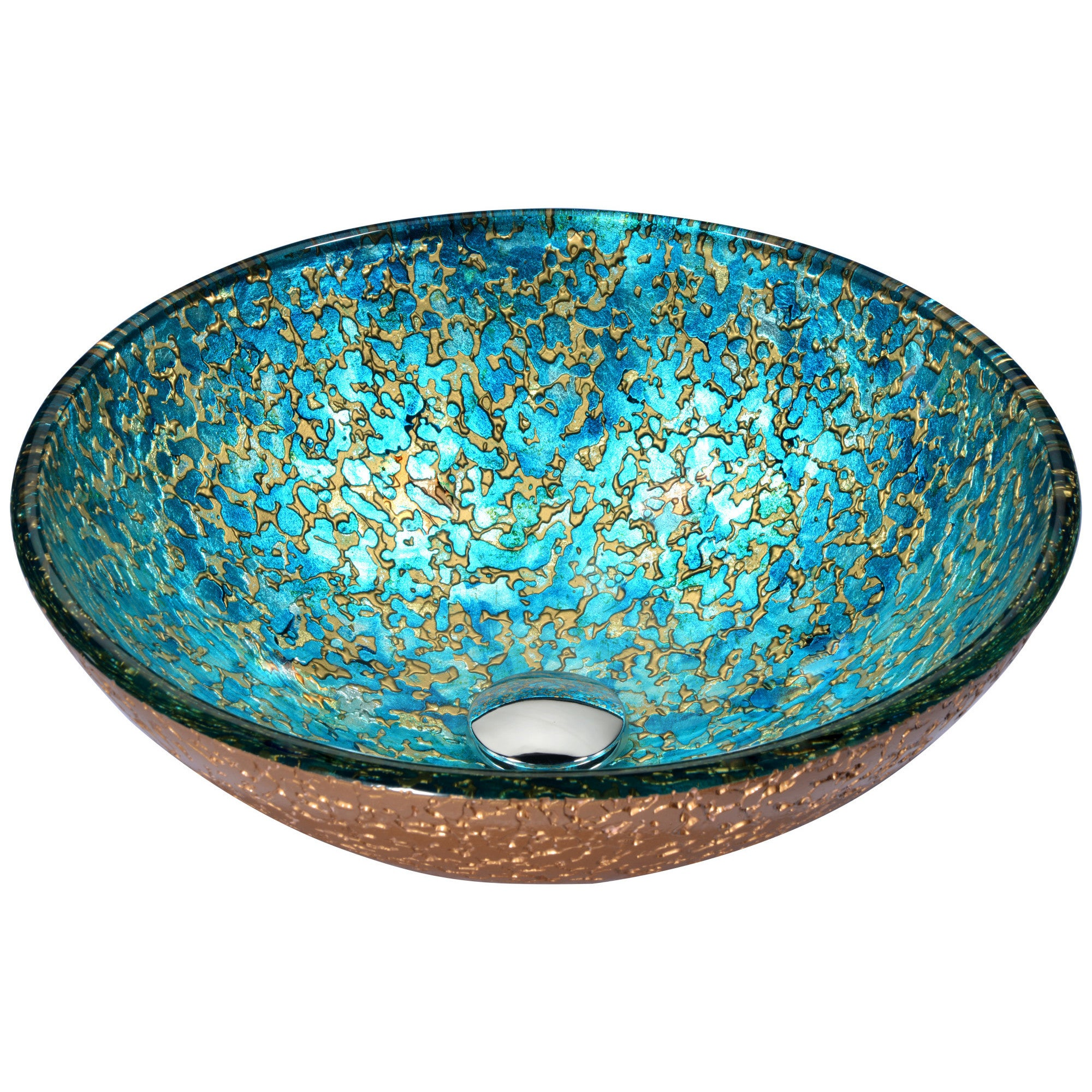 Shop ANZZI Chrona Series Vessel Sink in Gold/Cyan Mix - Free ...