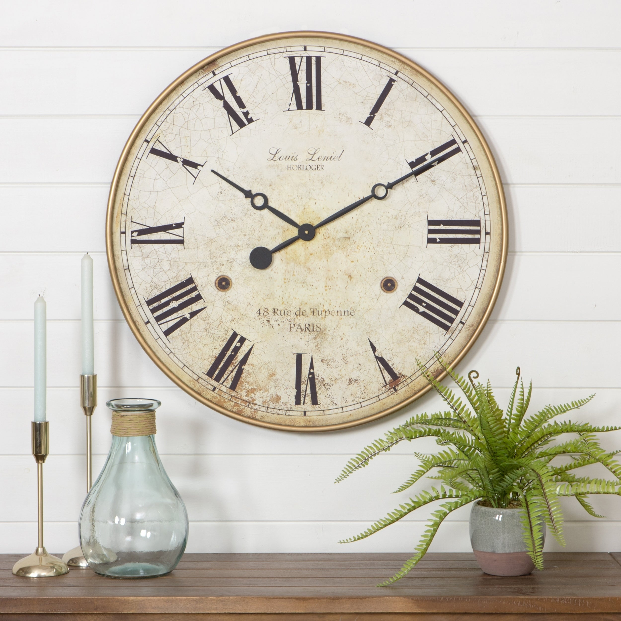 Shop leniel large wall clock free shipping today overstock com 16303920