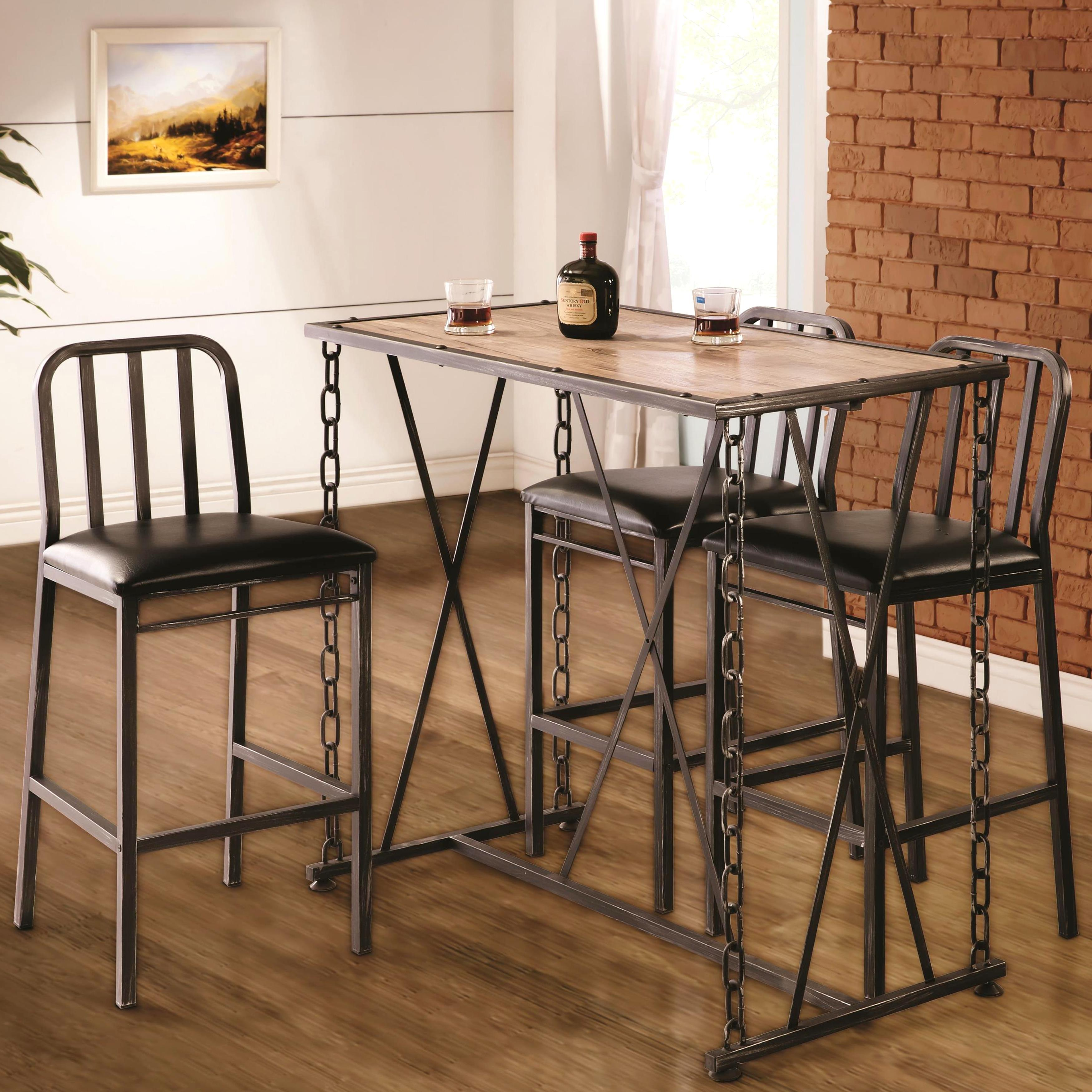 Industrial Distressed Finish Chain Link Bistro Bar Pub Table and