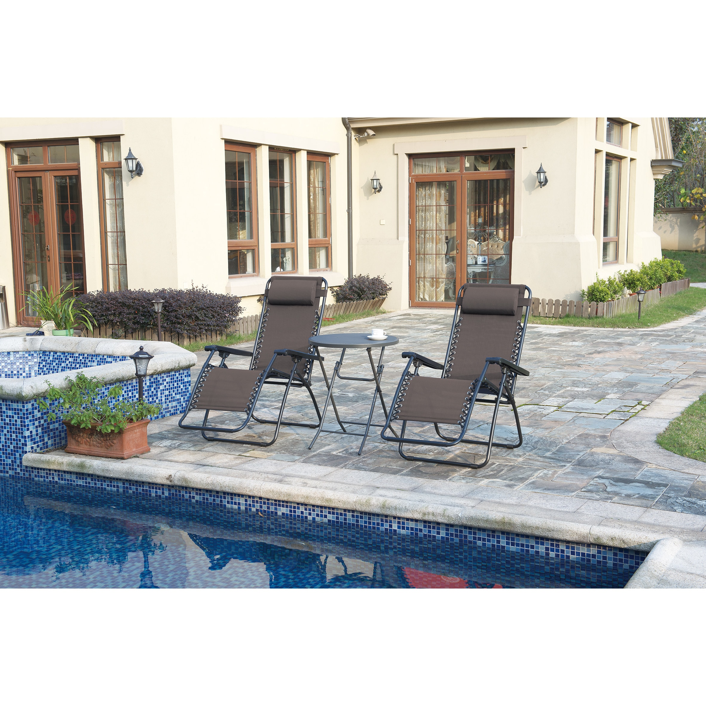 Poundex Lizkona All Weather Outdoor Foldable Zero Gravity Chairs With Headrest Set Of 2 Free Shipping Today 22669421