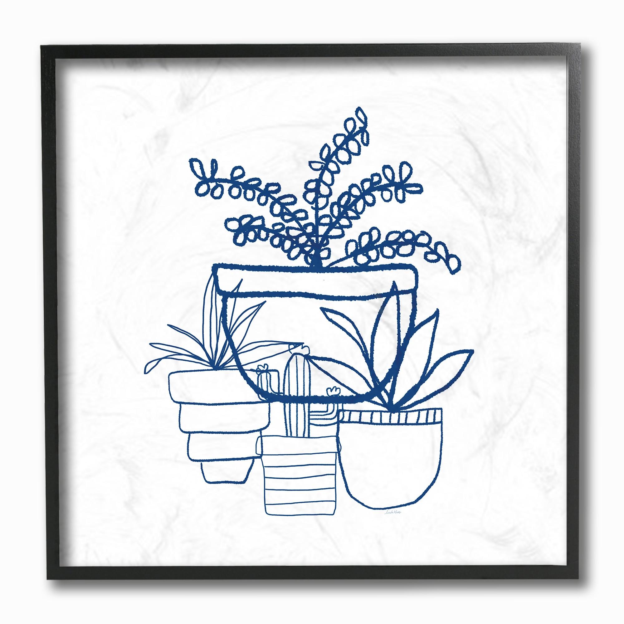 Indigo Succulent Line Drawing Framed Giclee Texturized Art Overstock 16304741