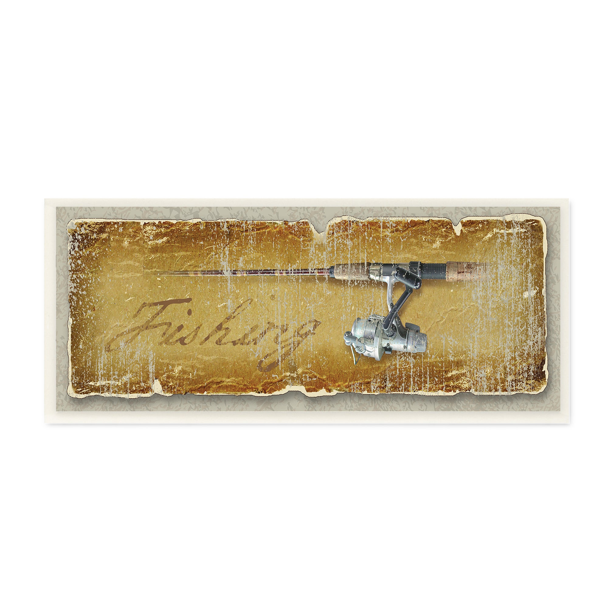 Fishing Rod and Reel Distressed Look Wall Plaque Art - Free Shipping ...