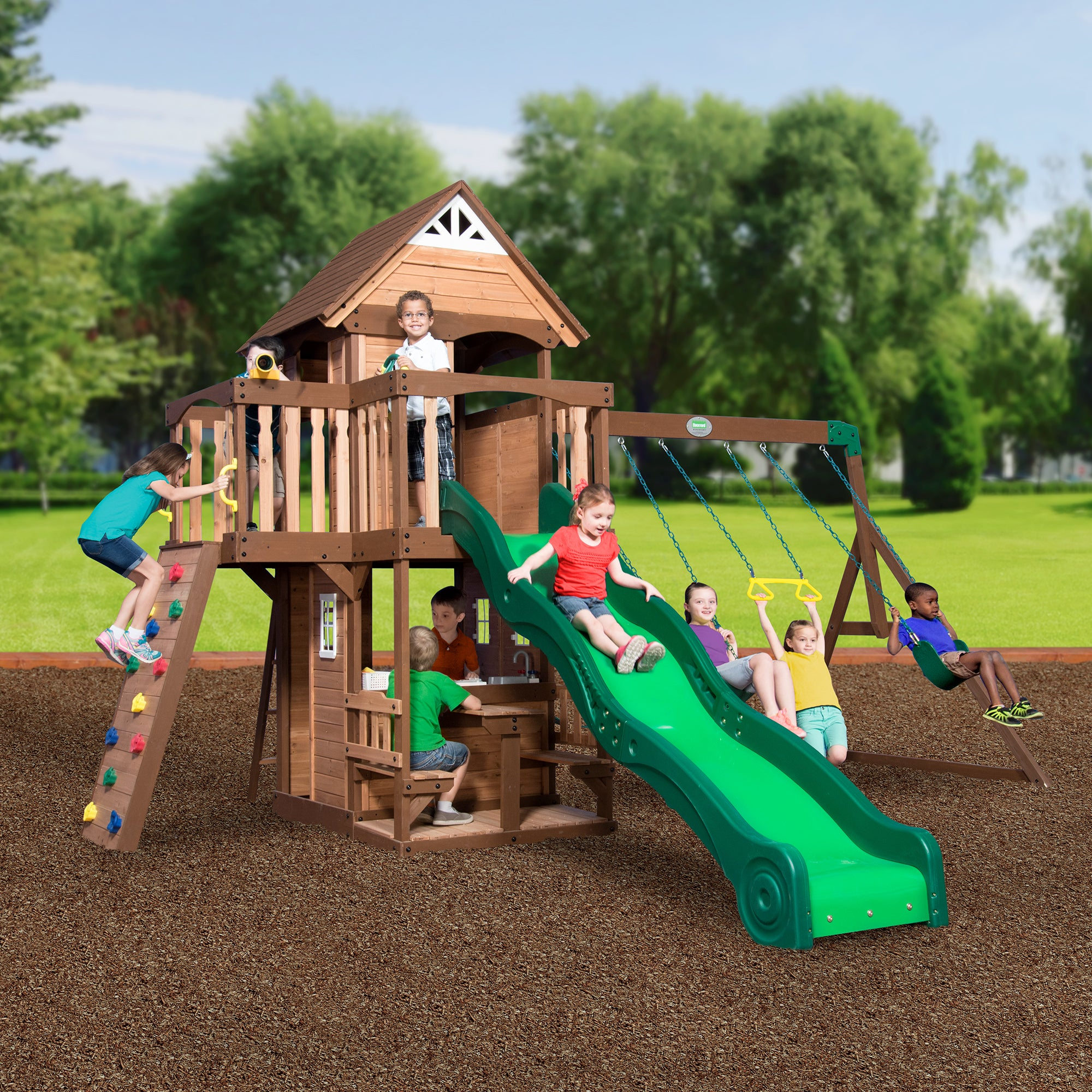outdoor big kids set sets slide playground sale itm board cedar backyard wooden for swing windale
