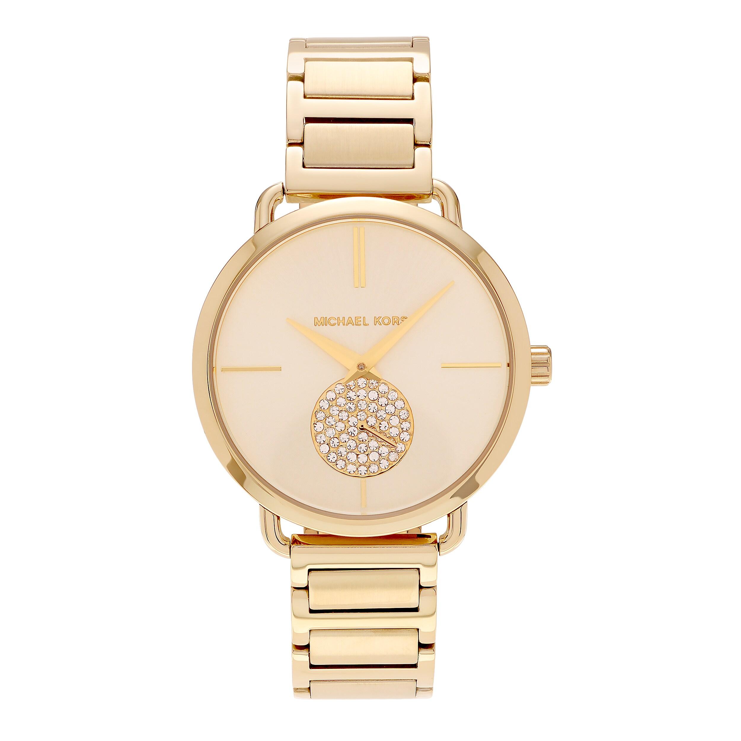 9d443c99497d Michael Kors Women s MK3639  Portia  Goldtone Stainless Steel Crystal Pave  Link Bracelet Watch