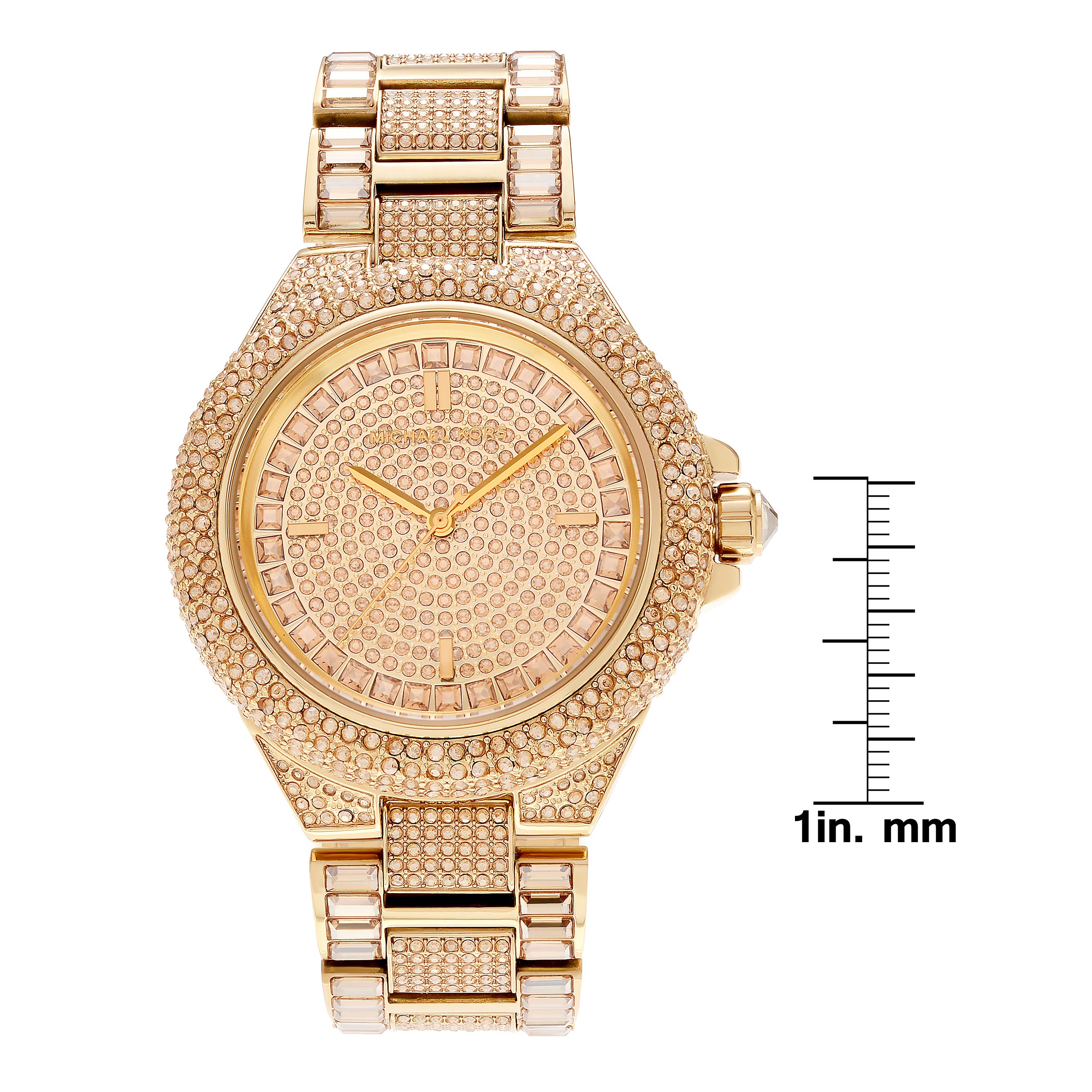 5e3036bd1b18 Shop Michael Kors Women's MK5720 'Camille' Gold-tone Pave Crystal Glam  Watch - Gold - Free Shipping Today - Overstock - 16306367