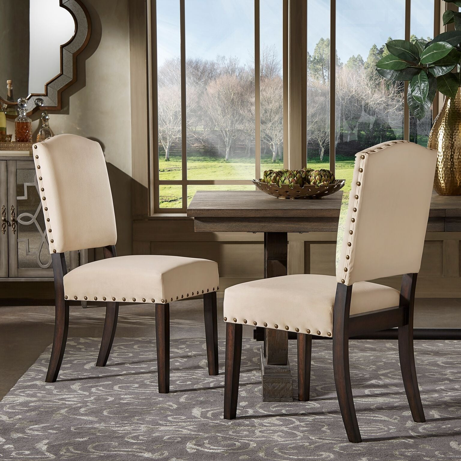 Benchwright II Velvet Nailhead Dining Chairs (Set Of 2) By INSPIRE Q Bold    Free Shipping Today   Overstock.com   22670937