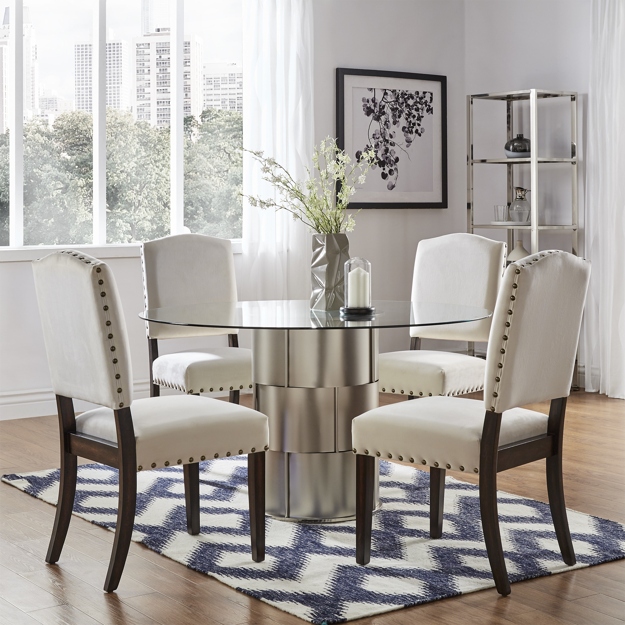 Benchwright II Velvet Nailhead Dining Chairs (Set of 2) by iNSPIRE Q Bold -  Free Shipping Today - Overstock.com - 22670937