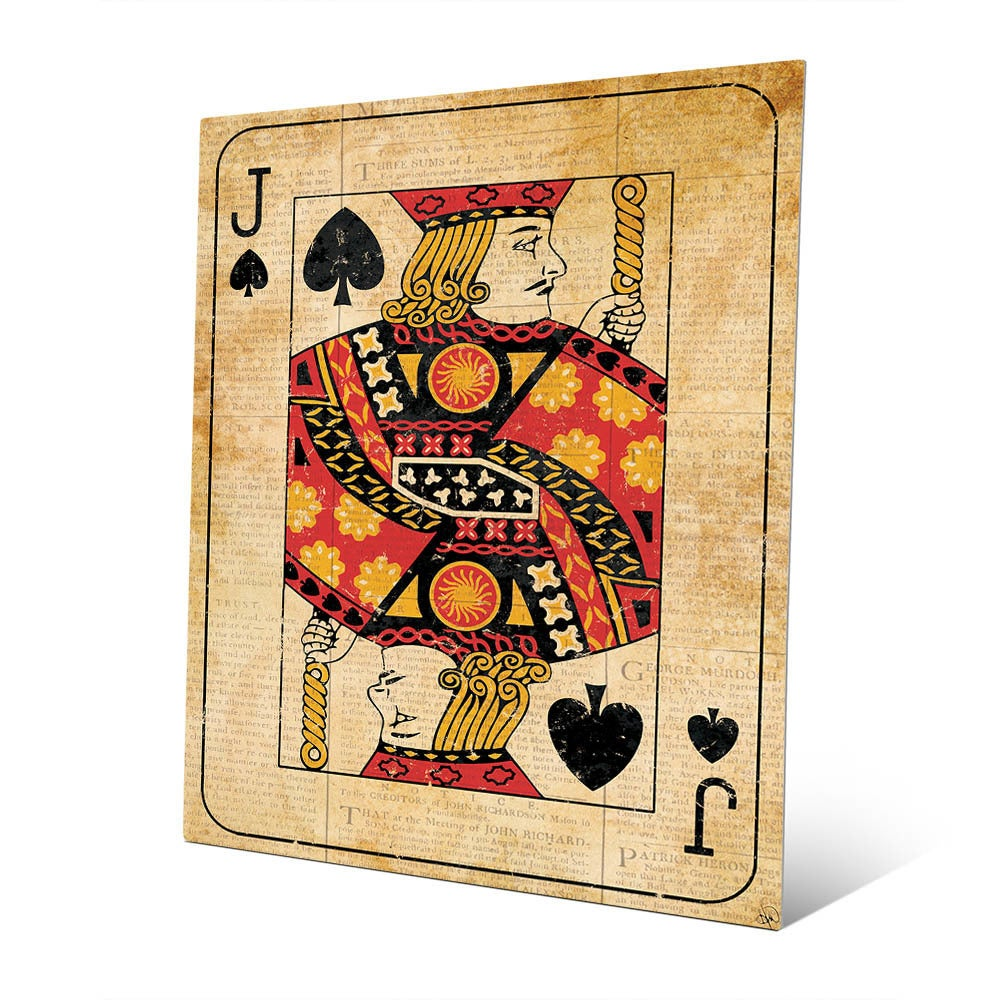 Shop Vintage Jack Playing Card Wall Art Print on Metal - On Sale ...