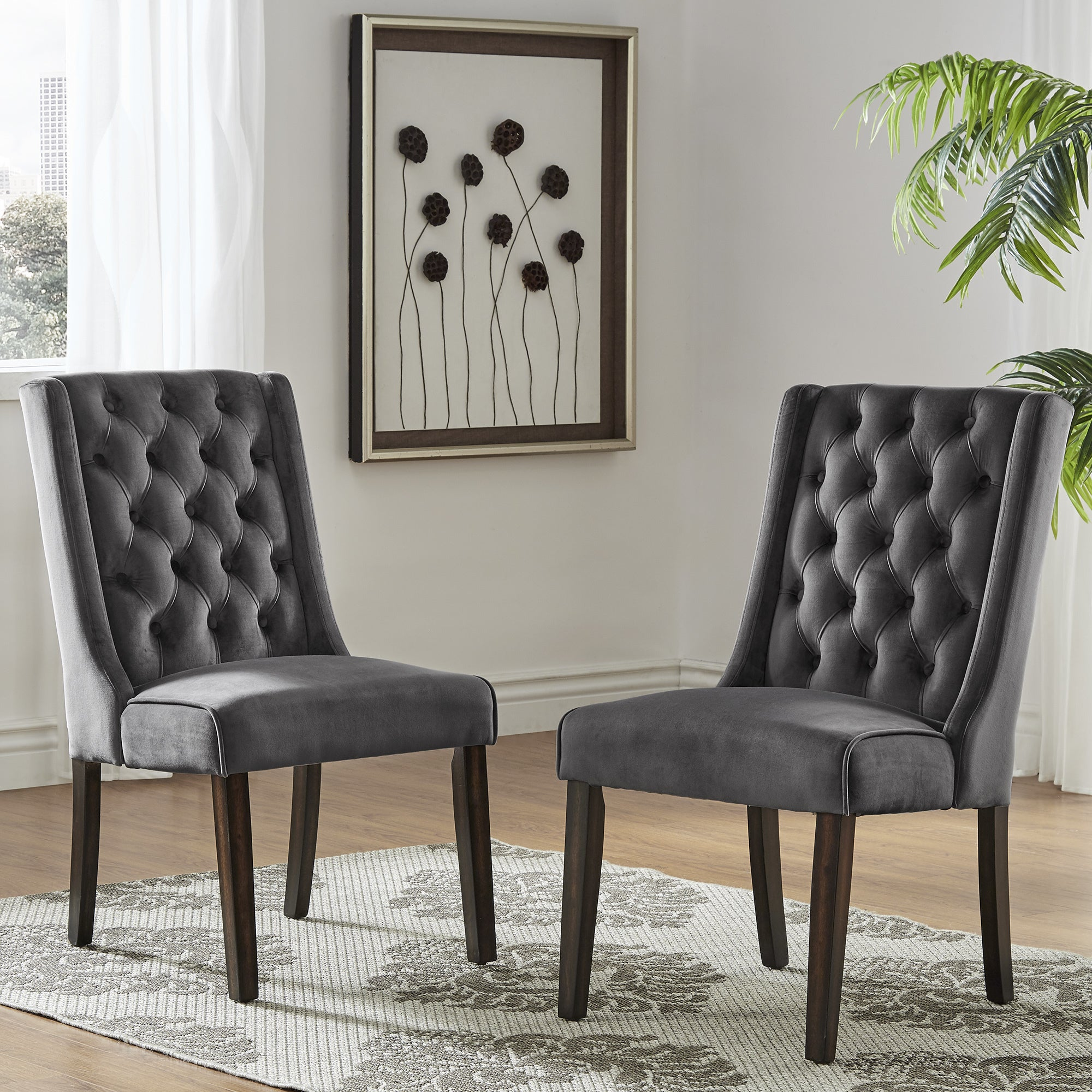 Shop Evelyn II Velvet Tufted Wingback Hostess Chairs (Set of 2) by iNSPIRE Q Bold - Free Shipping Today - Overstock.com - 16306444 & Shop Evelyn II Velvet Tufted Wingback Hostess Chairs (Set of 2) by ...