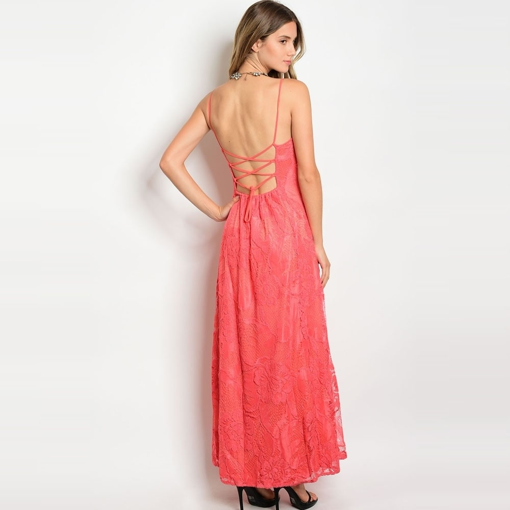 5e03374c72f6 Shop Shop The Trends Women s Spaghetti Strap Lace Maxi Dress With Scoop  Neckline And Full Lining - Free Shipping On Orders Over  45 - Overstock -  16307520
