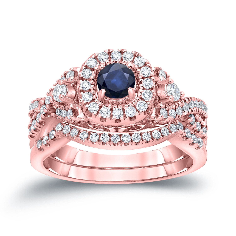 Auriya 14k Gold 1/4ct Sapphire and 1/2ct TDW Halo Diamond Engagement ...