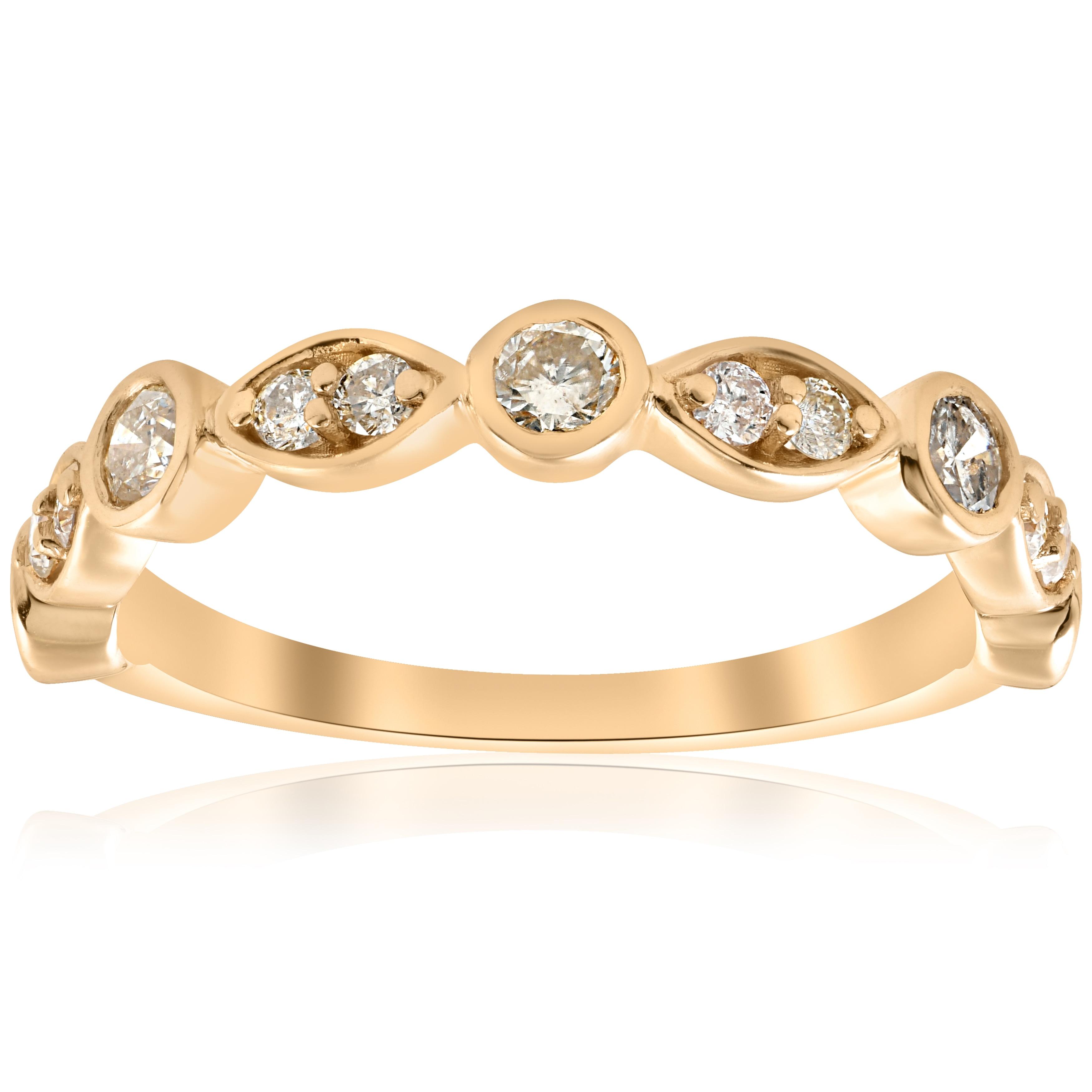 Shop 14k Yellow Gold 1/2 ct TDW Diamond Wedding Ring Stackable Bezel ...