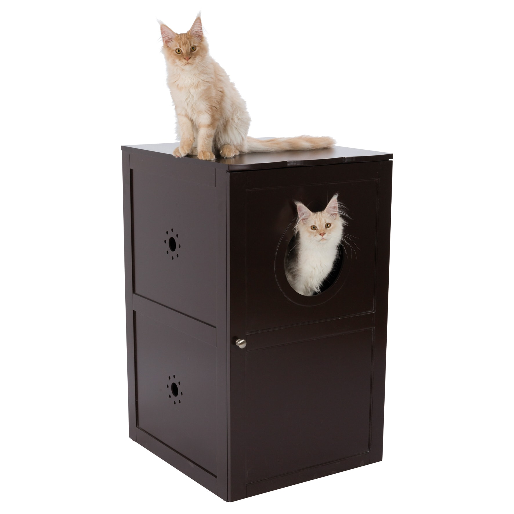 Brown Wooden 2-Story Cat House/ Litter Box - Free Shipping Today -  Overstock.com - 22680285
