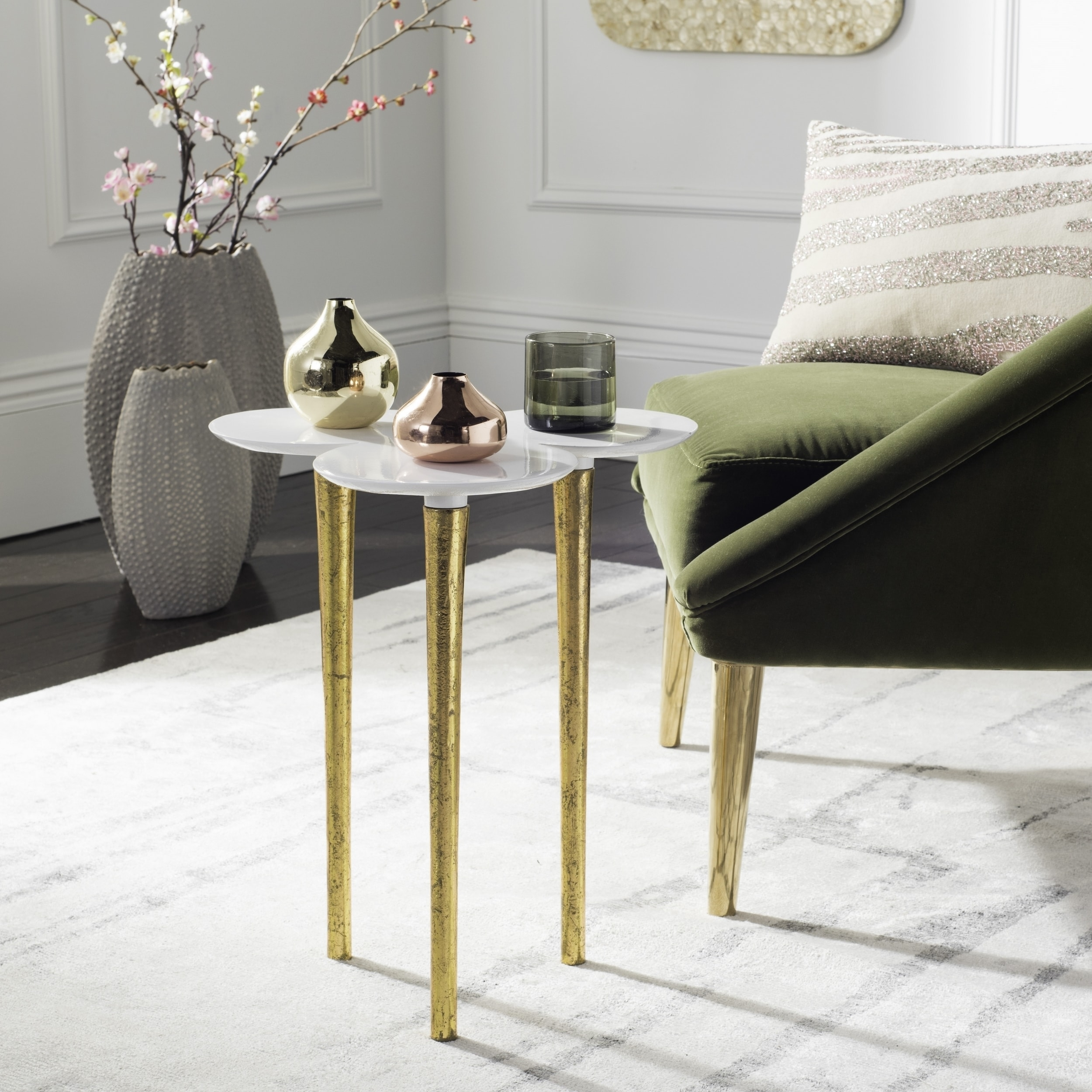 Shop safavieh aria white gold accent table on sale free shipping today overstock com 16324597