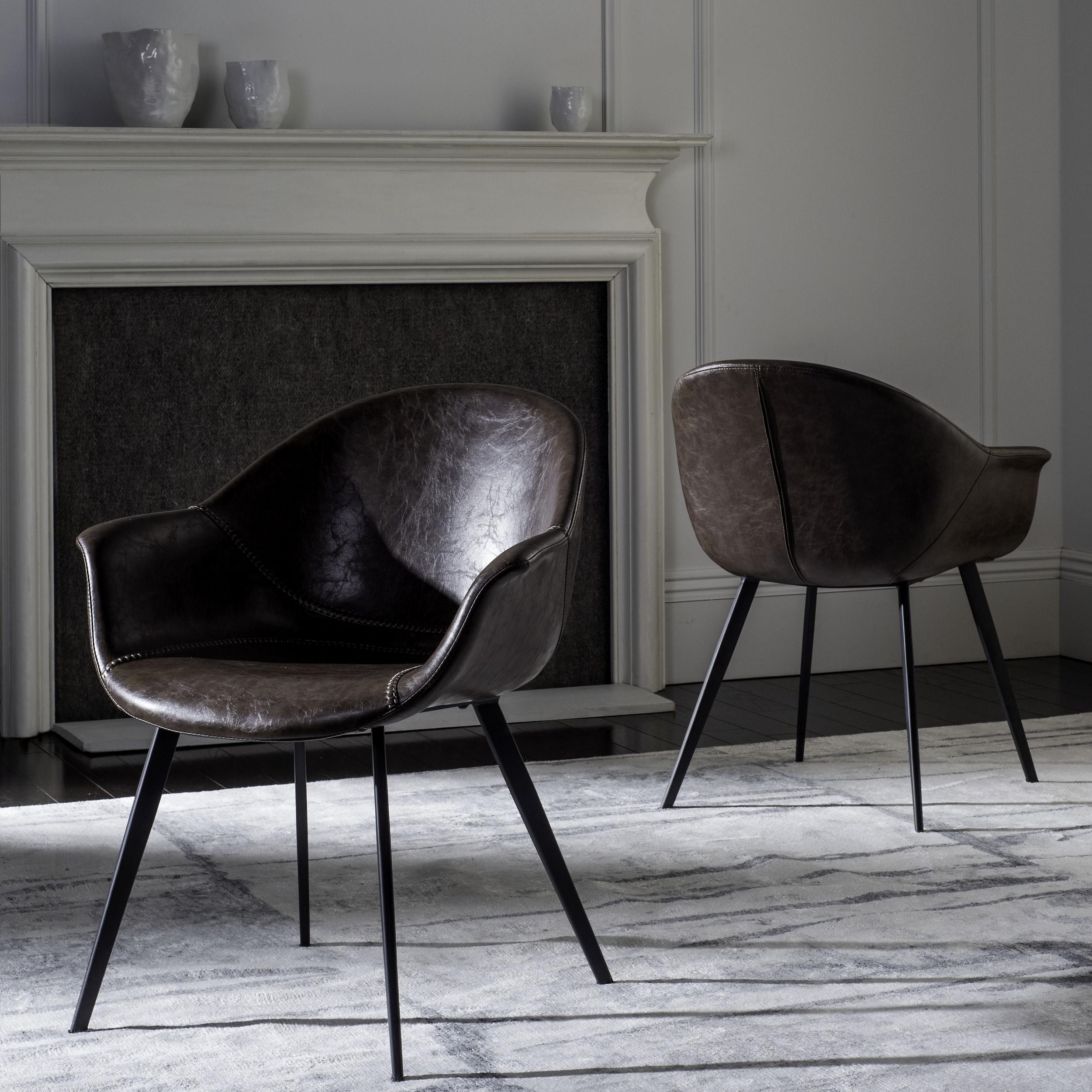 9f3d6dac8c03c Safavieh Dublin Mid-Century Modern Leather Dining Tub Chairdark Brown   Black Dining Chair (Set of 2)