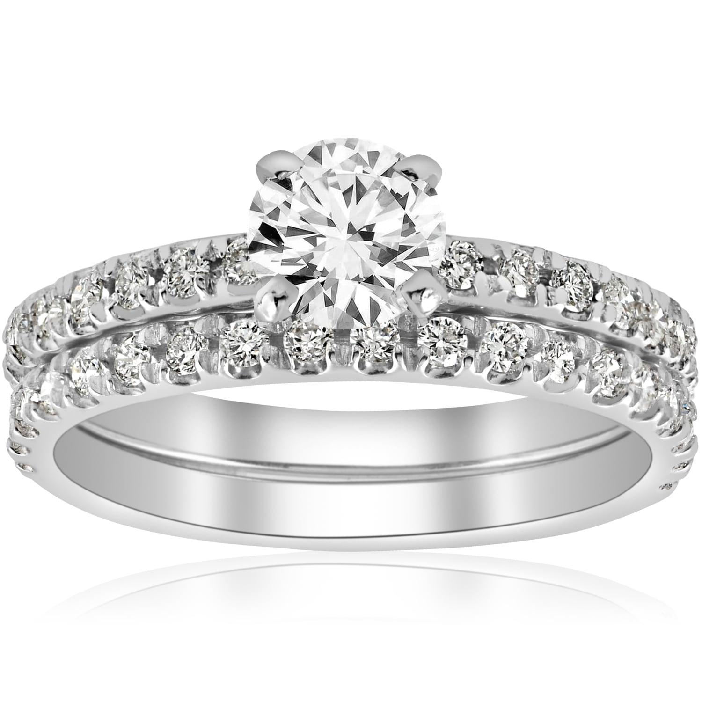 14k White Gold 1 4 Ct Tdw Diamond Engagement Ring Wedding Set French Pave Single Row I J I2 I3 On Free Shipping Today