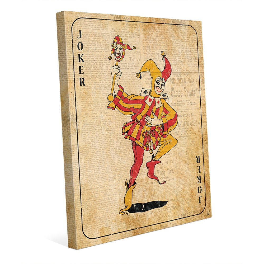 Shop Vintage Joker Playing Card Wall Art Canvas Print - On Sale ...