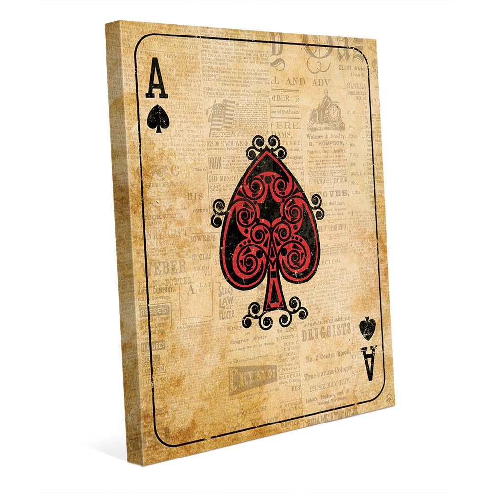 Vintage Ace Red Playing Card Wall Art Canvas Print - Free Shipping ...