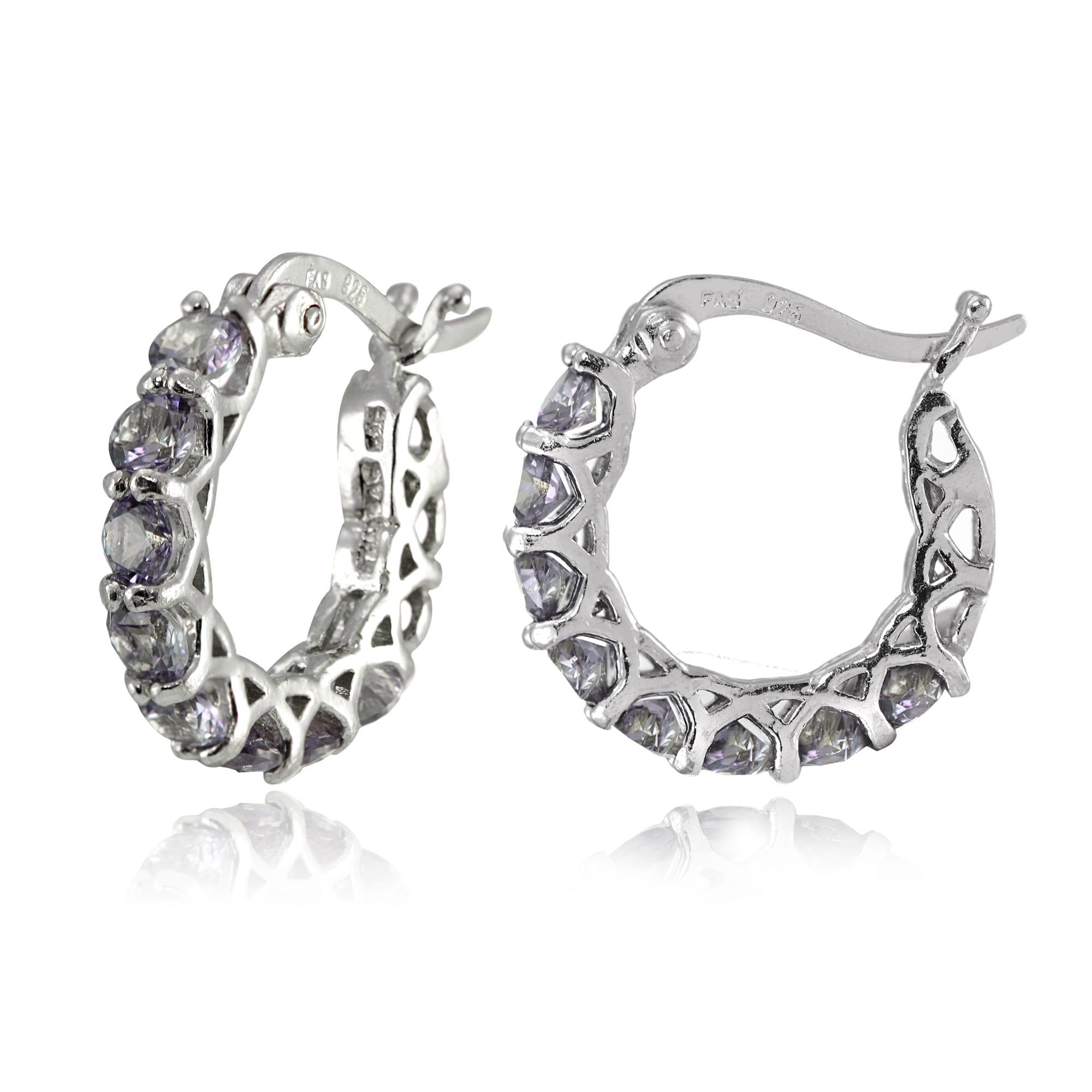 f56bcb8f1d520 Glitzy Rocks Sterling Silver Birthstone Gemstone Small Hoop Earrings