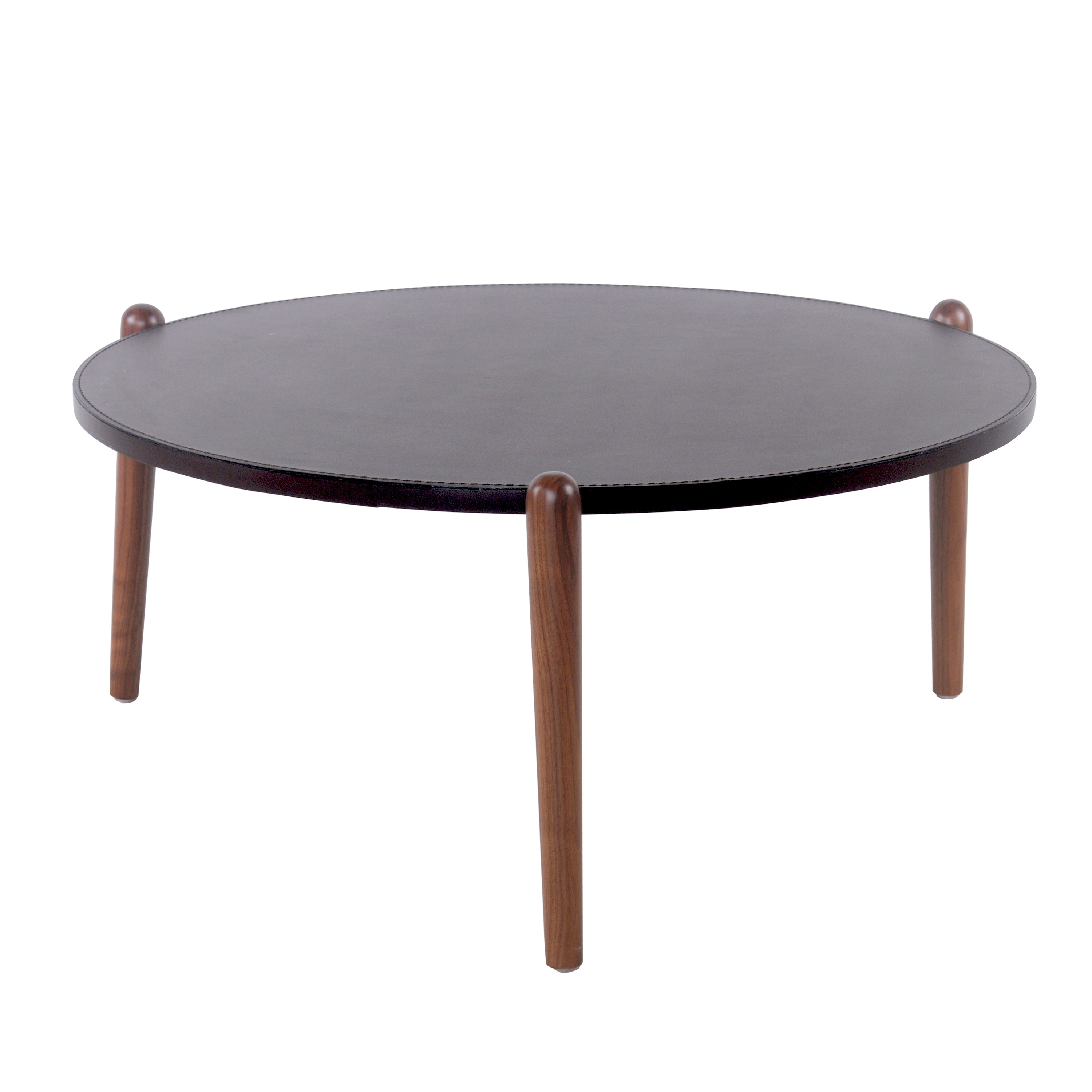 Farren Brown Recycled Leather Round Coffee Table With Walnut Legs Free Shipping Today 16326438