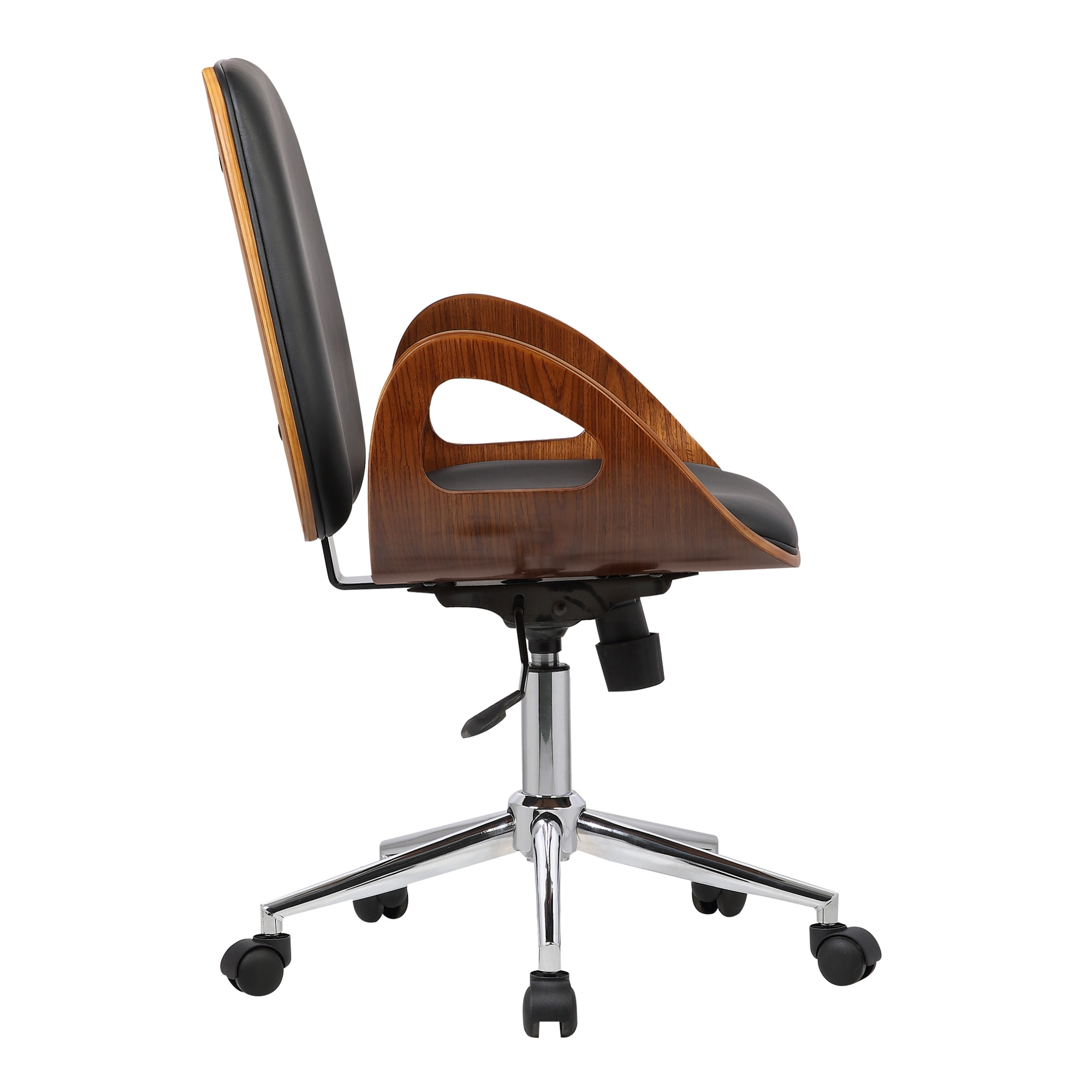 117d2658a8 Shop Armen Living Wallace Mid-Century Office Chair in Chrome finish with Black  Faux Leather and Walnut Veneer Back - Free Shipping Today - Overstock - ...