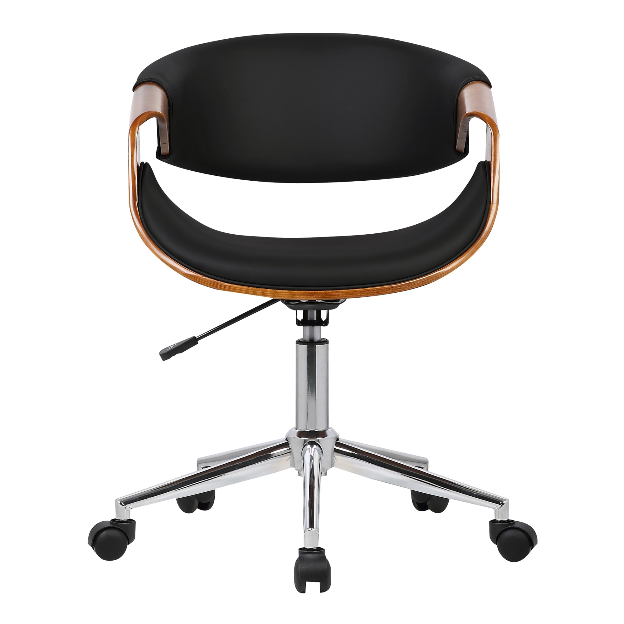 a020730f10 Shop Armen Living Geneva Mid-Century Office Chair in Chrome finish with Black  Faux Leather and Walnut Ven - Free Shipping Today - Overstock - 16326523