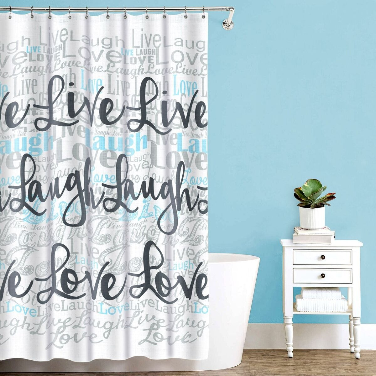 Shop \'Live Laugh Love\' Fabric Shower Curtain (70\