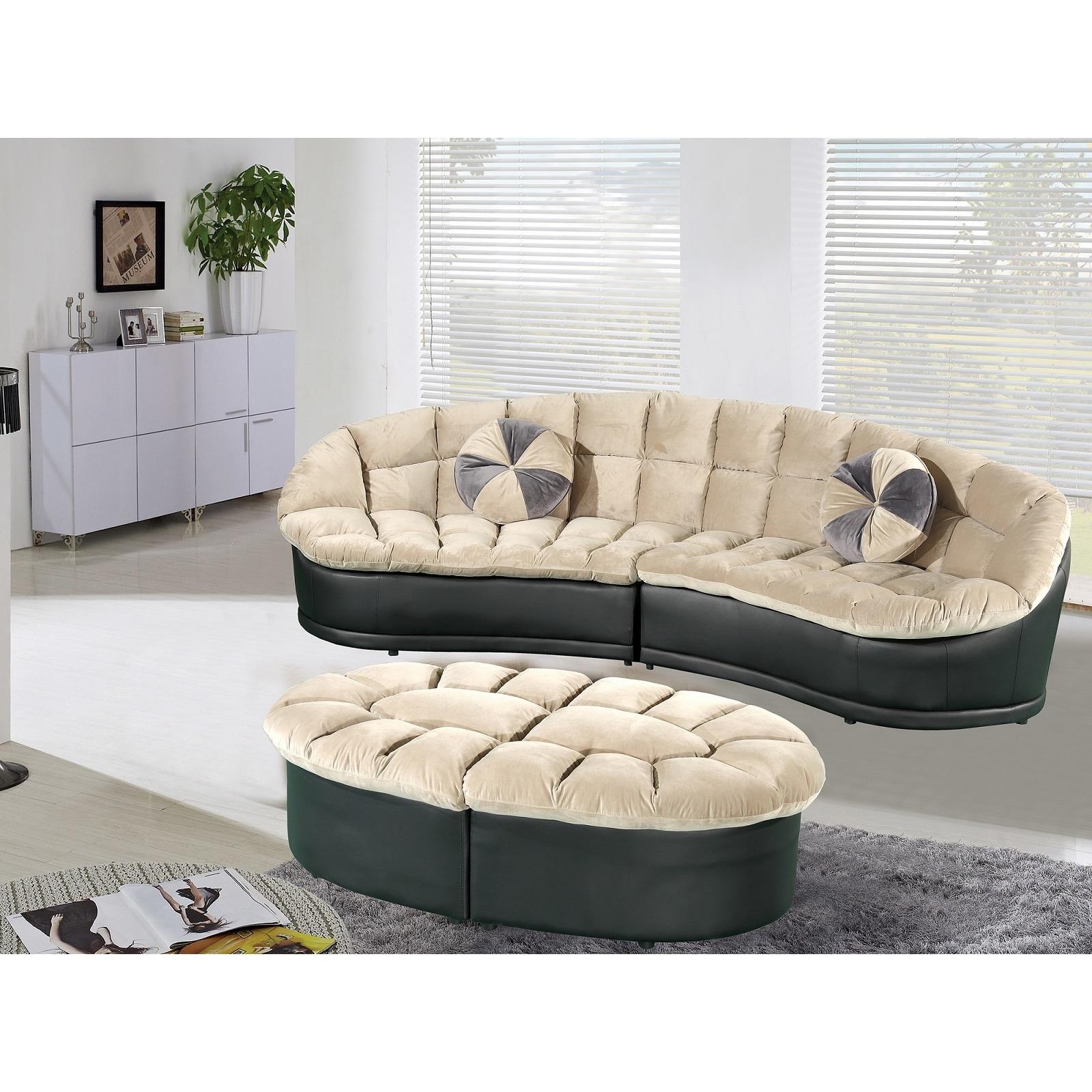 Papasan Modern-style Velvet 2-piece Sectional Sofa with Ottoman Set ...